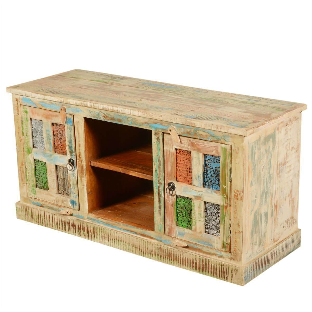 "Rainbow Windows Rustic Reclaimed Wood 47"" TV Stand Media Console"