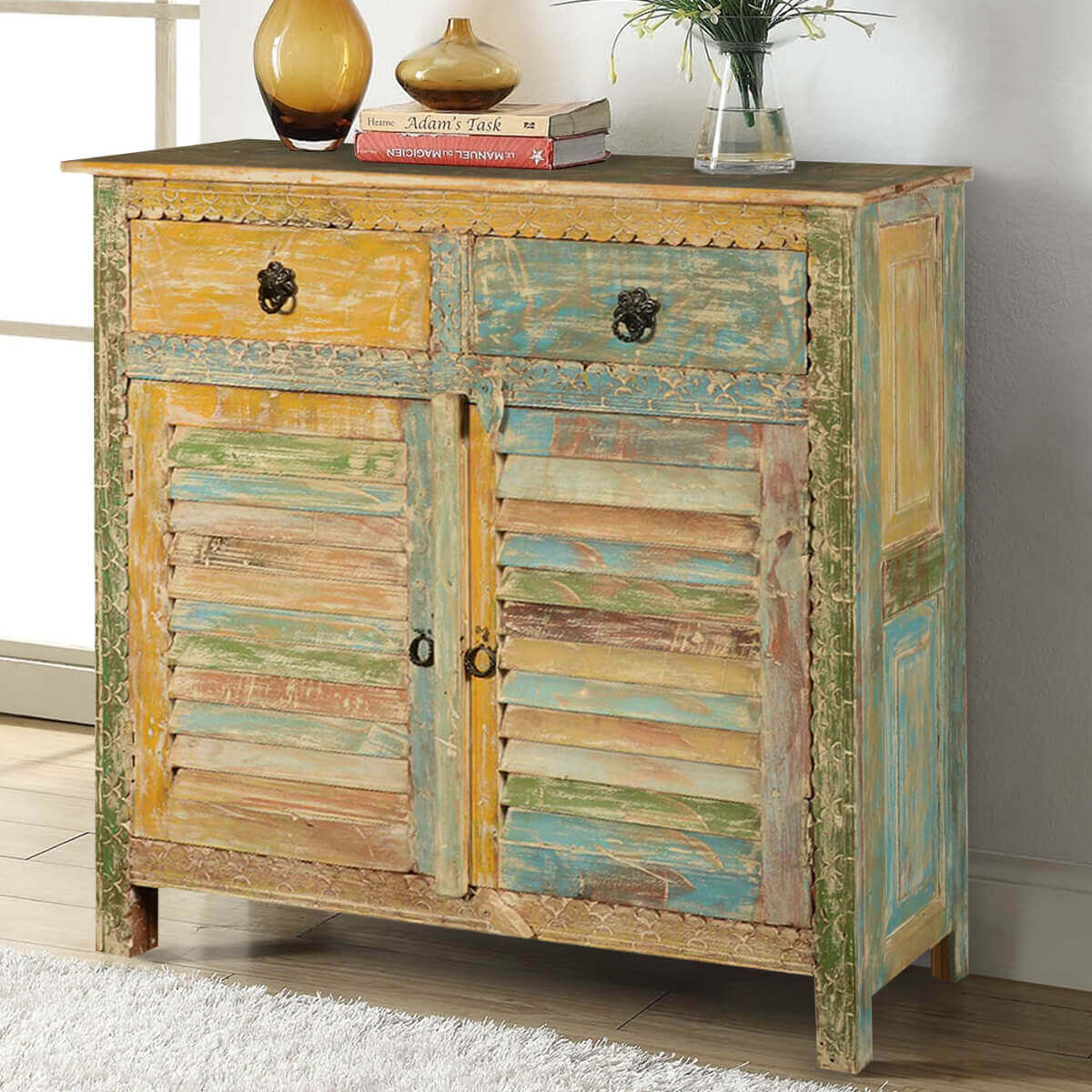 Exceptional Attica Shutter Door Rustic Reclaimed Wood 2 Drawer Storage Cabinet