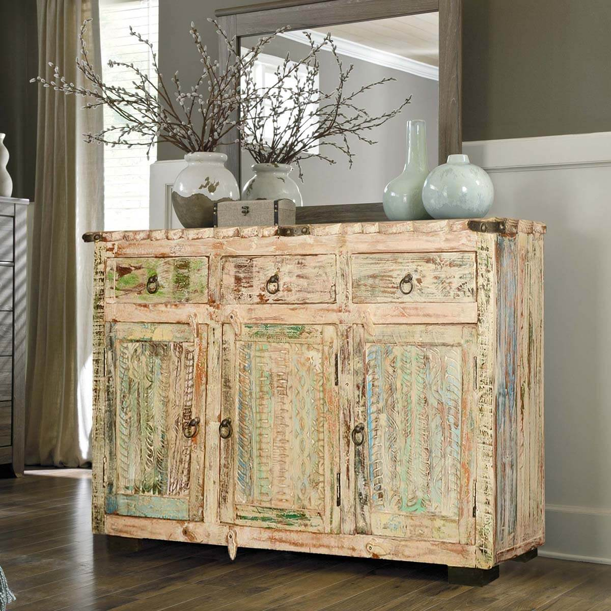 Winter Night Reclaimed Wood Scalloped Edge Sideboard Cabinet