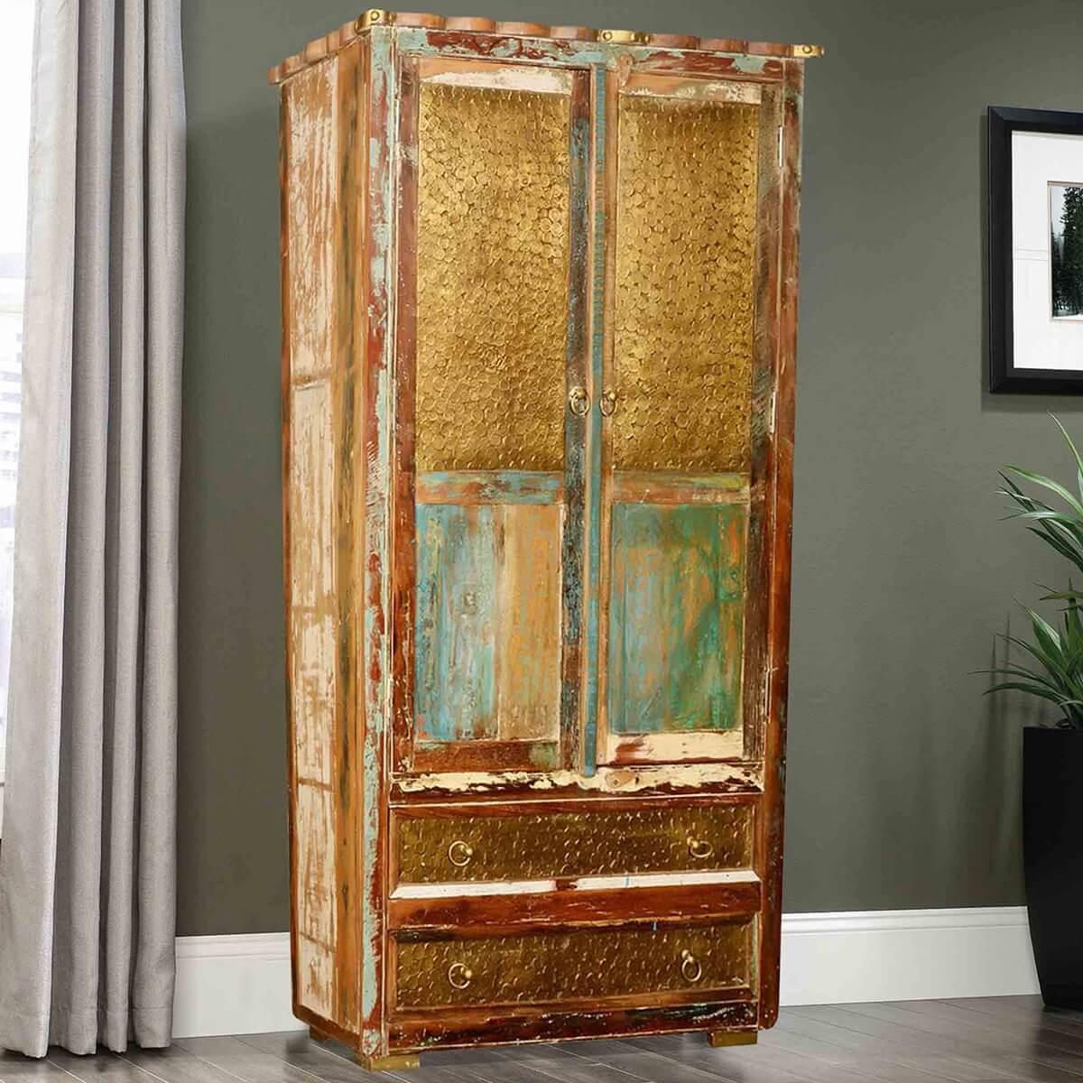 nesbitt golden coins reclaimed wood 2 bottom drawer armoire cabinet. Black Bedroom Furniture Sets. Home Design Ideas