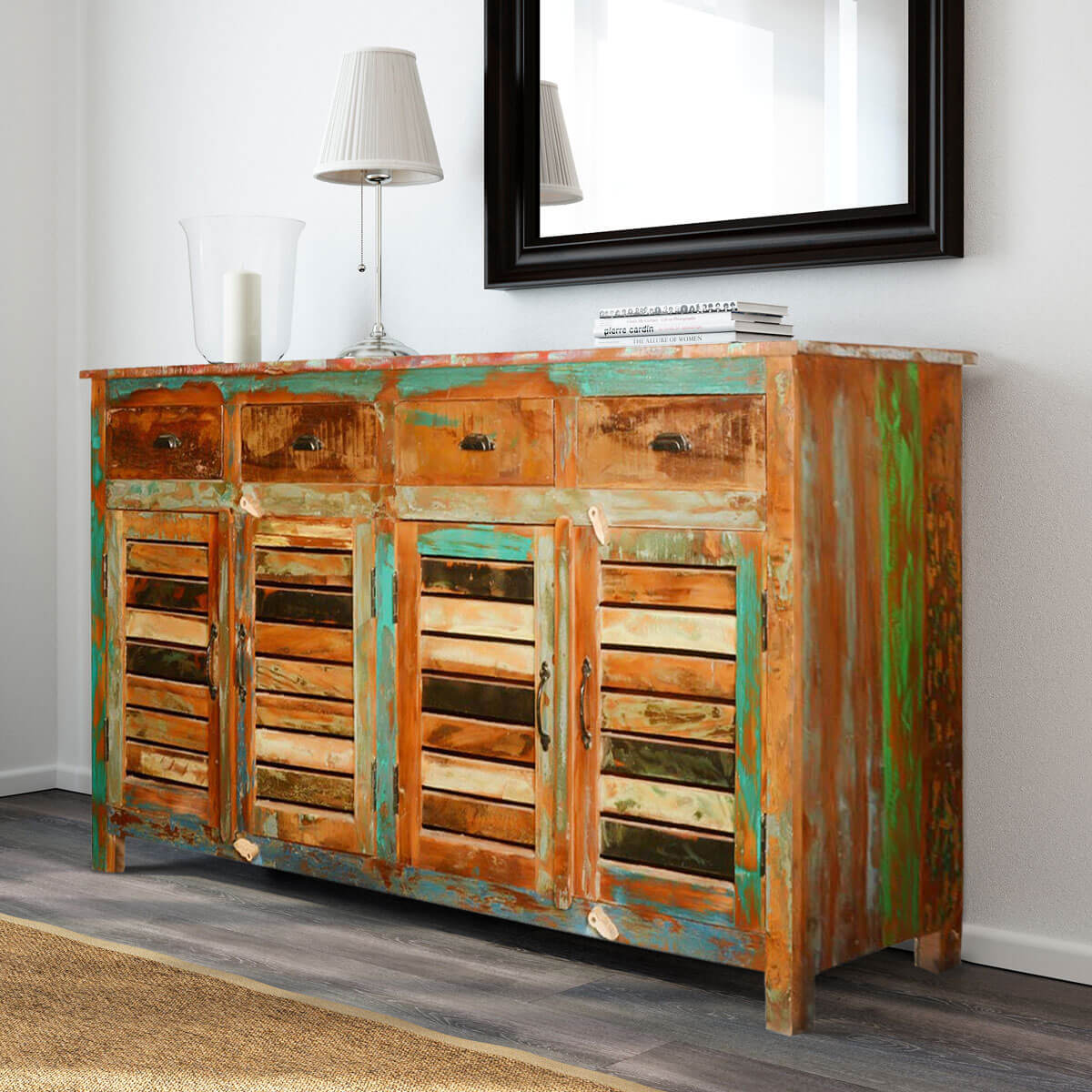 reclaimed wood furniture rustic shutter door cabinet sideboa