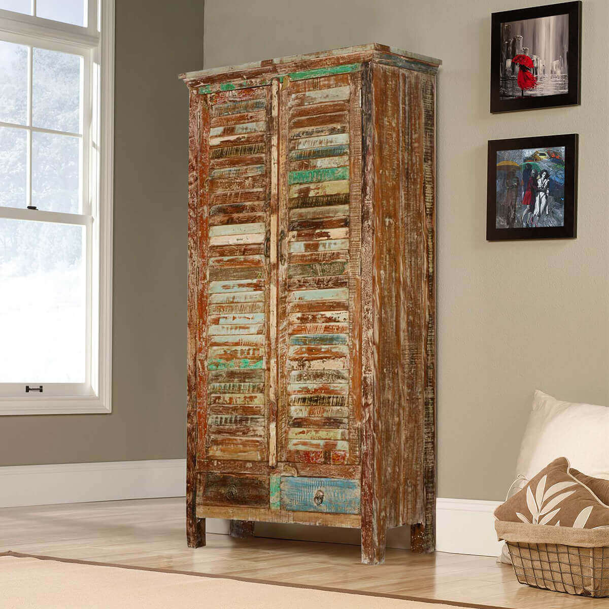 Rustic Shutter Door Reclaimed Wood Armoire Wardrobe Cabinet - Shutter Door Reclaimed Wood Armoire Wardrobe Cabinet