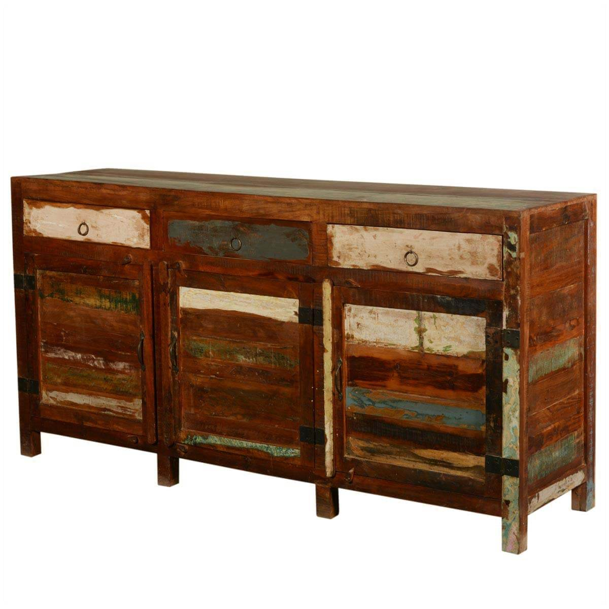 New Memories Reclaimed Wood 3 Section Buffet Sideboard Cabinet