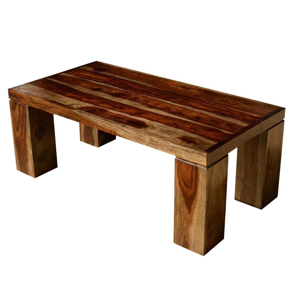 Contemporary solid wood espresso coffee table w block legs for Solid wood coffee table