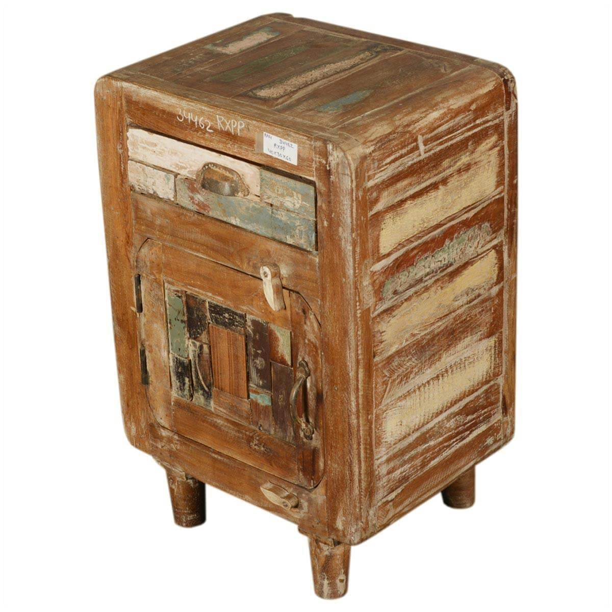 Appalachian Rustic Reclaimed Wood Retro End Table With Drawer