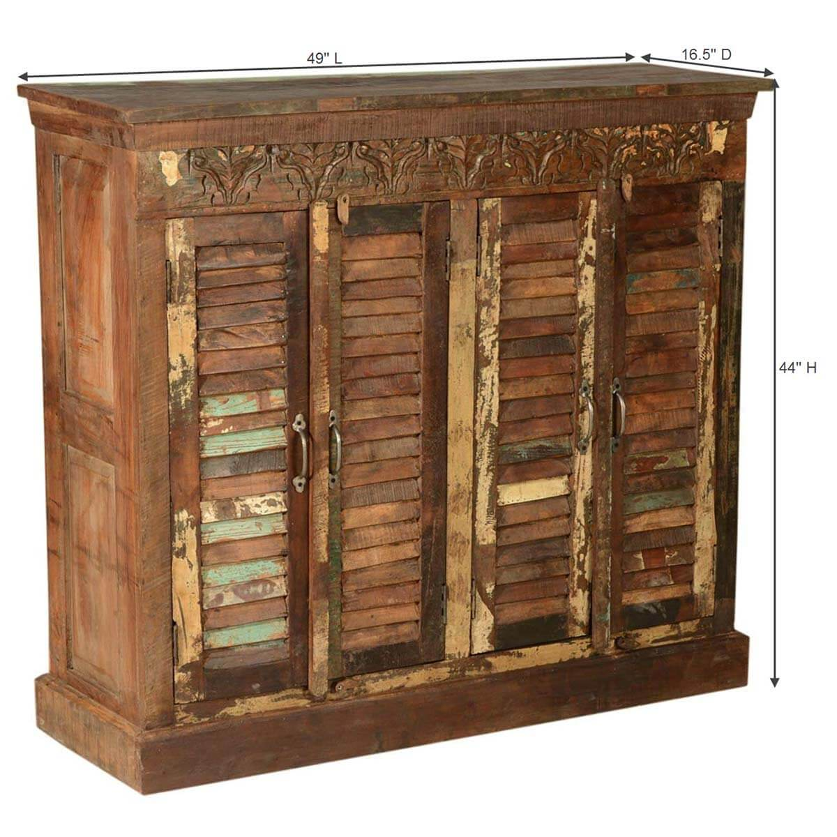 Ardin rustic reclaimed wood shutter door buffet cabinet