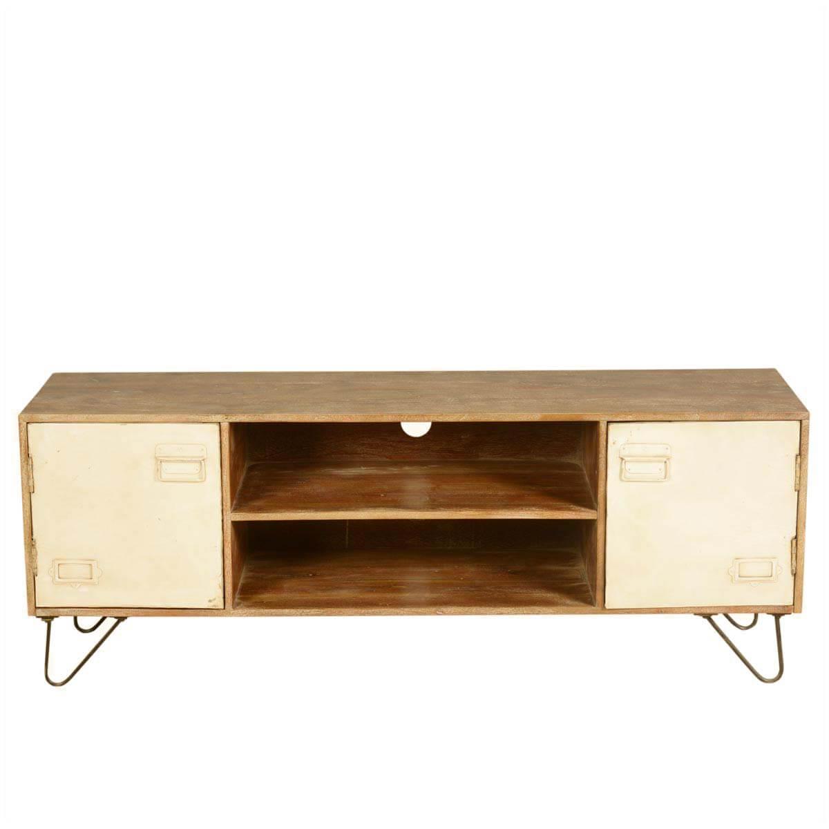 Industrial Mango Wood Iron Office Cabinet Doors Tv Media