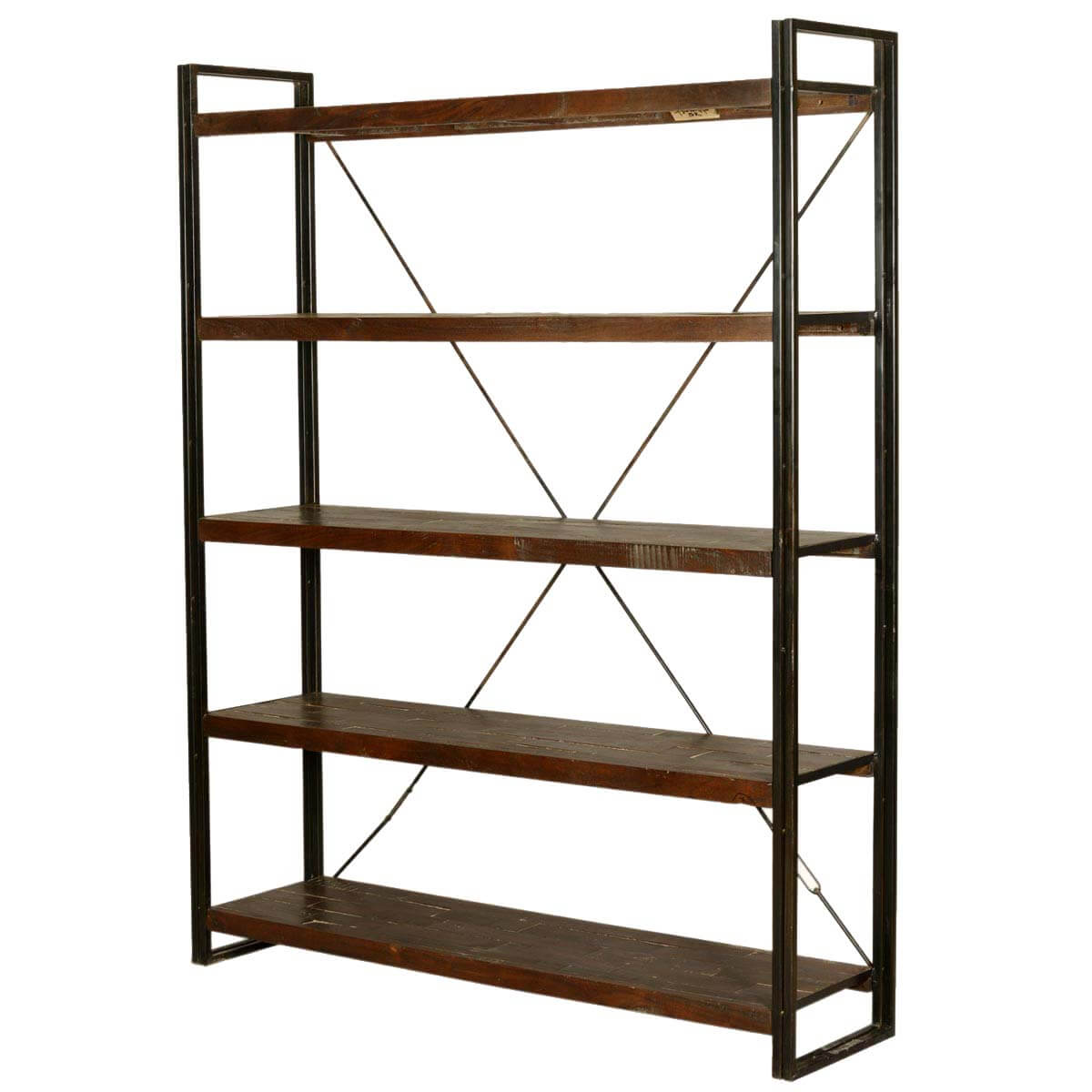 "Industrial French Library 79"" Tall Wood & Iron Wall Bookcase Shelves"