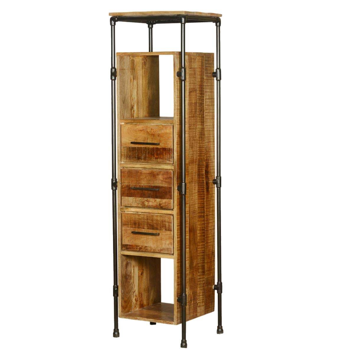 Industrial Mango Wood & Iron Storage Tower w 3 Drawers-3 Shelves