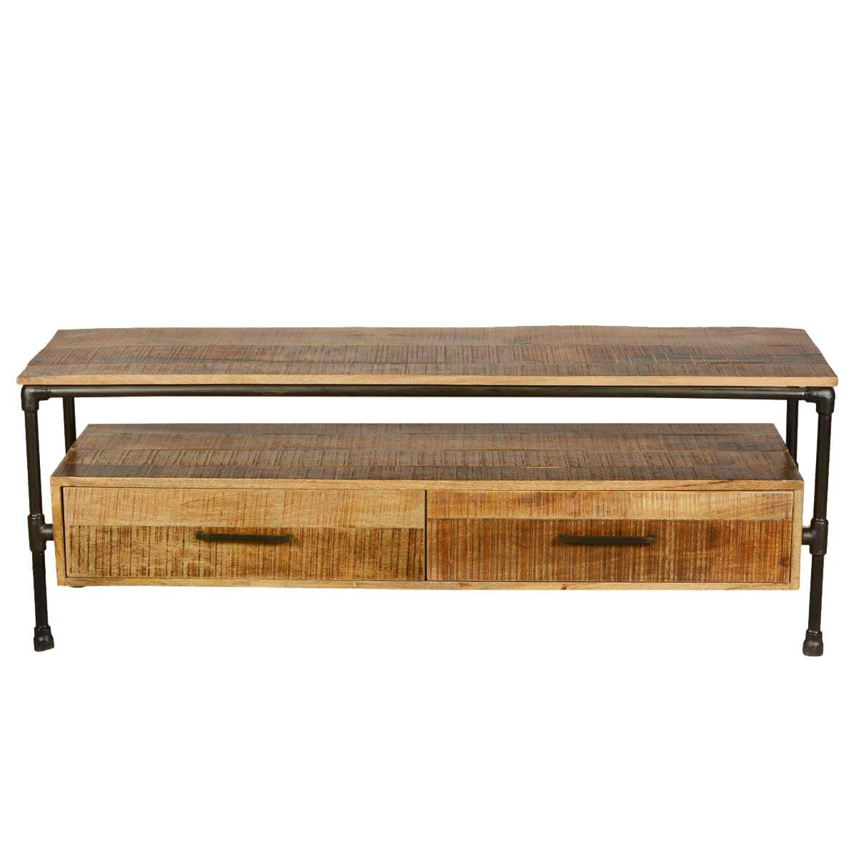 sc 1 st  Sierra Living Concepts & Holt Industrial Iron Pipe u0026 Mango Wood 2 Drawer TV Media Stand