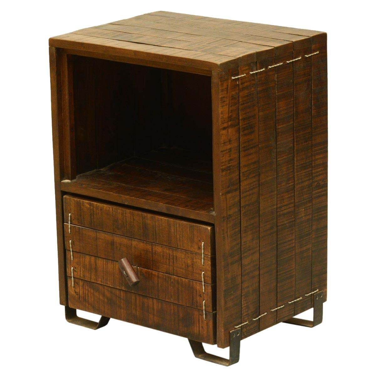 Modern scholar reclaimed wood single drawer end table for Large side table with drawers
