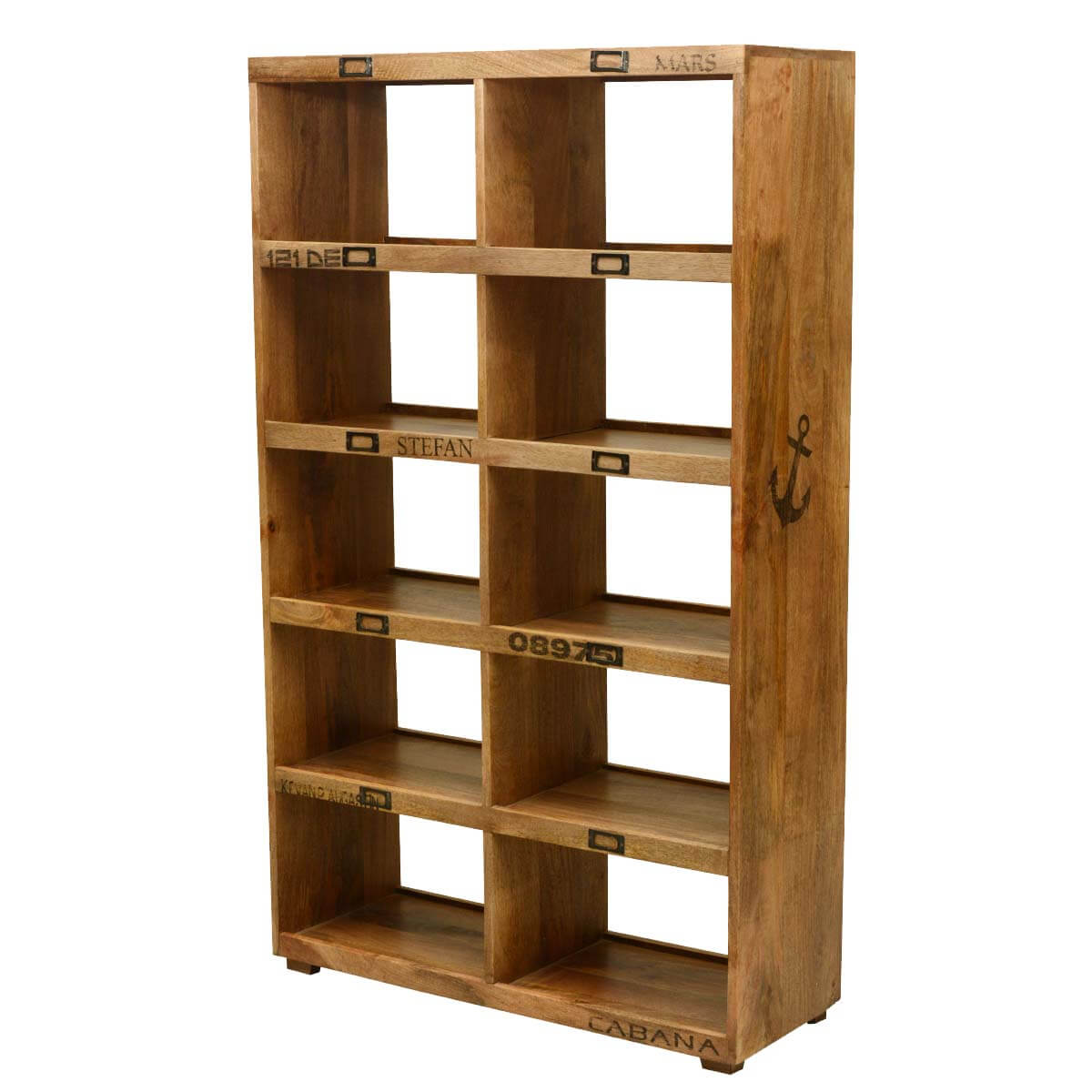 Anchors Away Mango Wood 10 Section Open Back Display Wall Unit