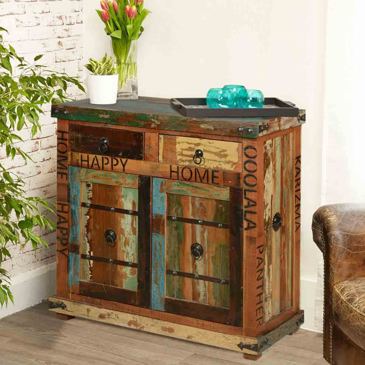 & Happy Home Rustic Reclaimed Wood 2 Drawer Storage Cabinet