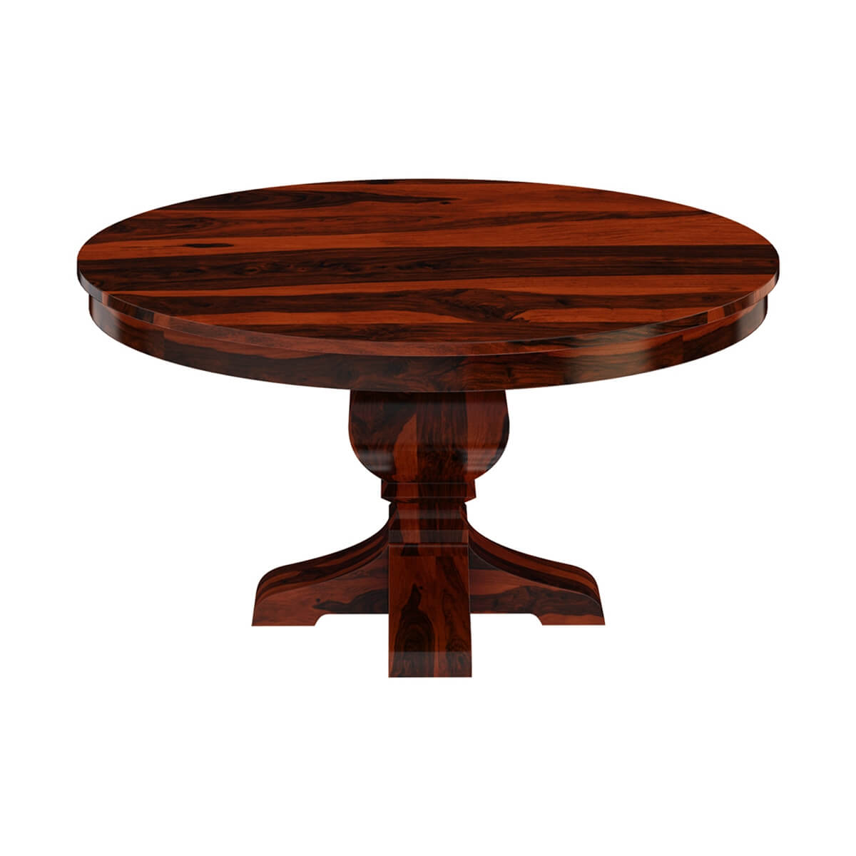 Missouri 60 solid wood round pedestal dining table for Pedestal dining table