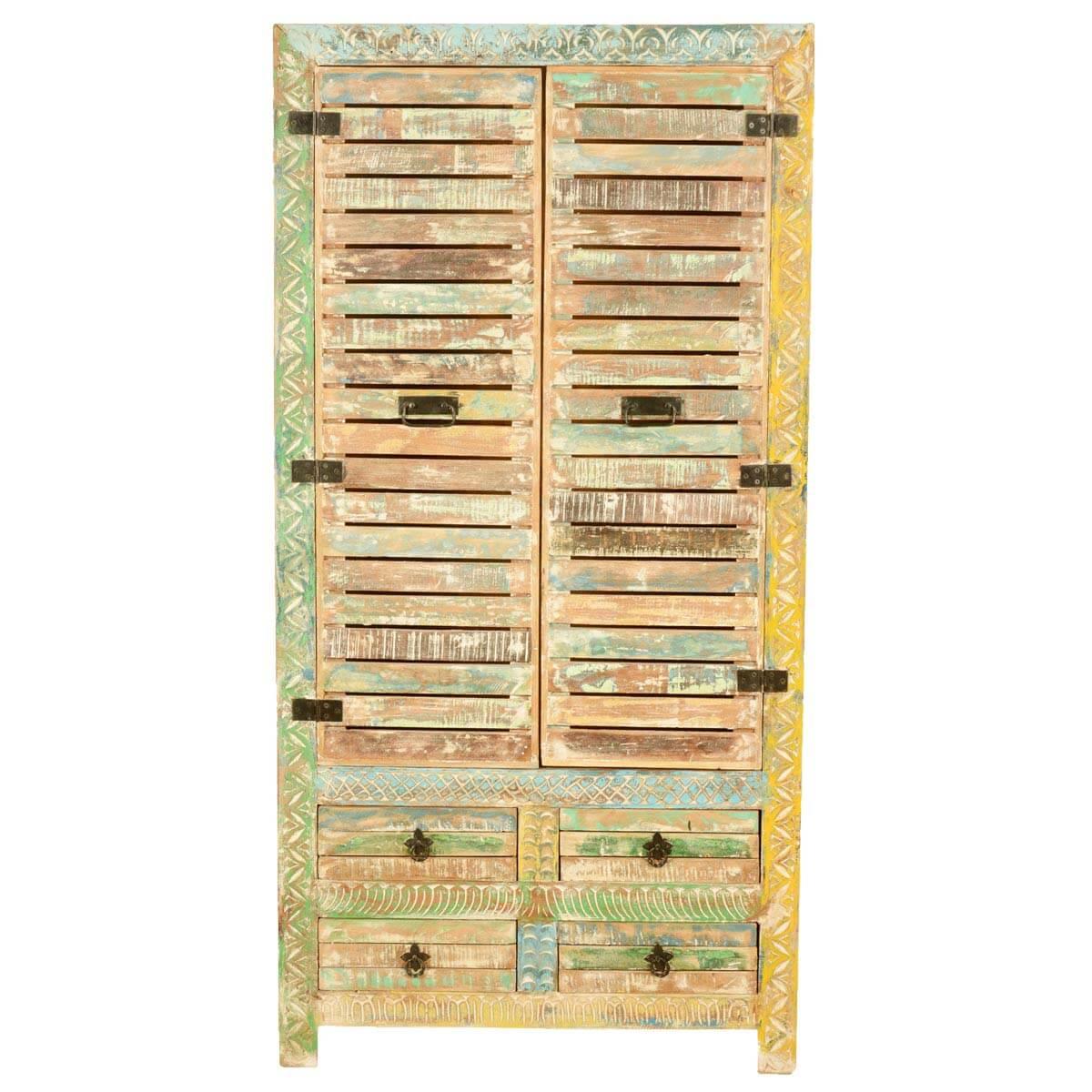 Pennsylvania Rustic Reclaimed Wood Armoire Storage Cabinet