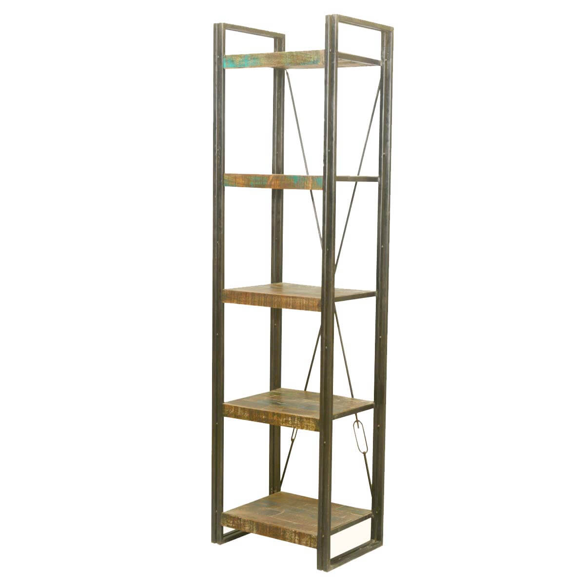 Industrial Reclaimed Wood & Iron French Library Narrow Single Shelving