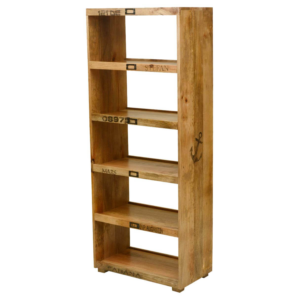 Tiny Hands Mango Wood Open Front & Back 5-Shelf Bookcase