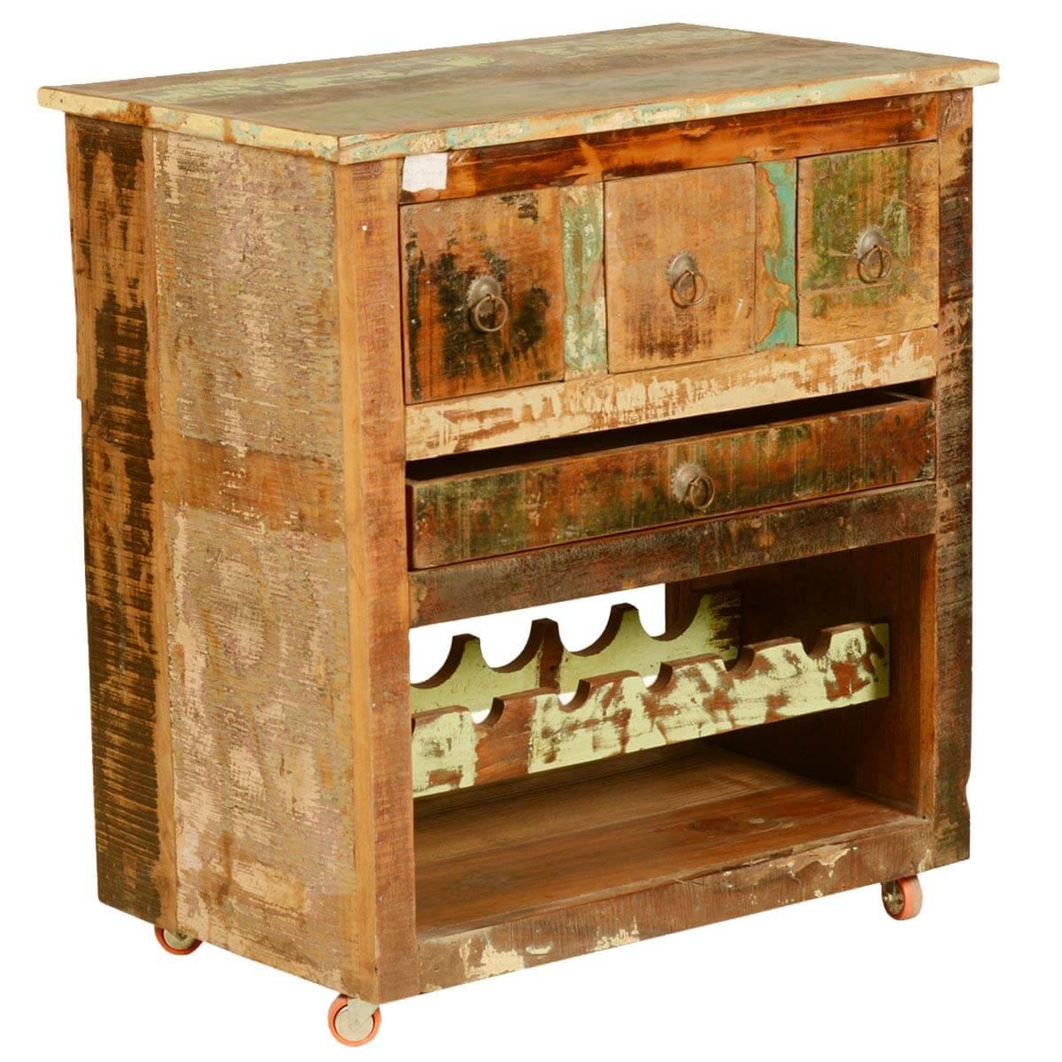 Merizo Rustic Reclaimed Wood Rolling Wheel Bar Cabinet
