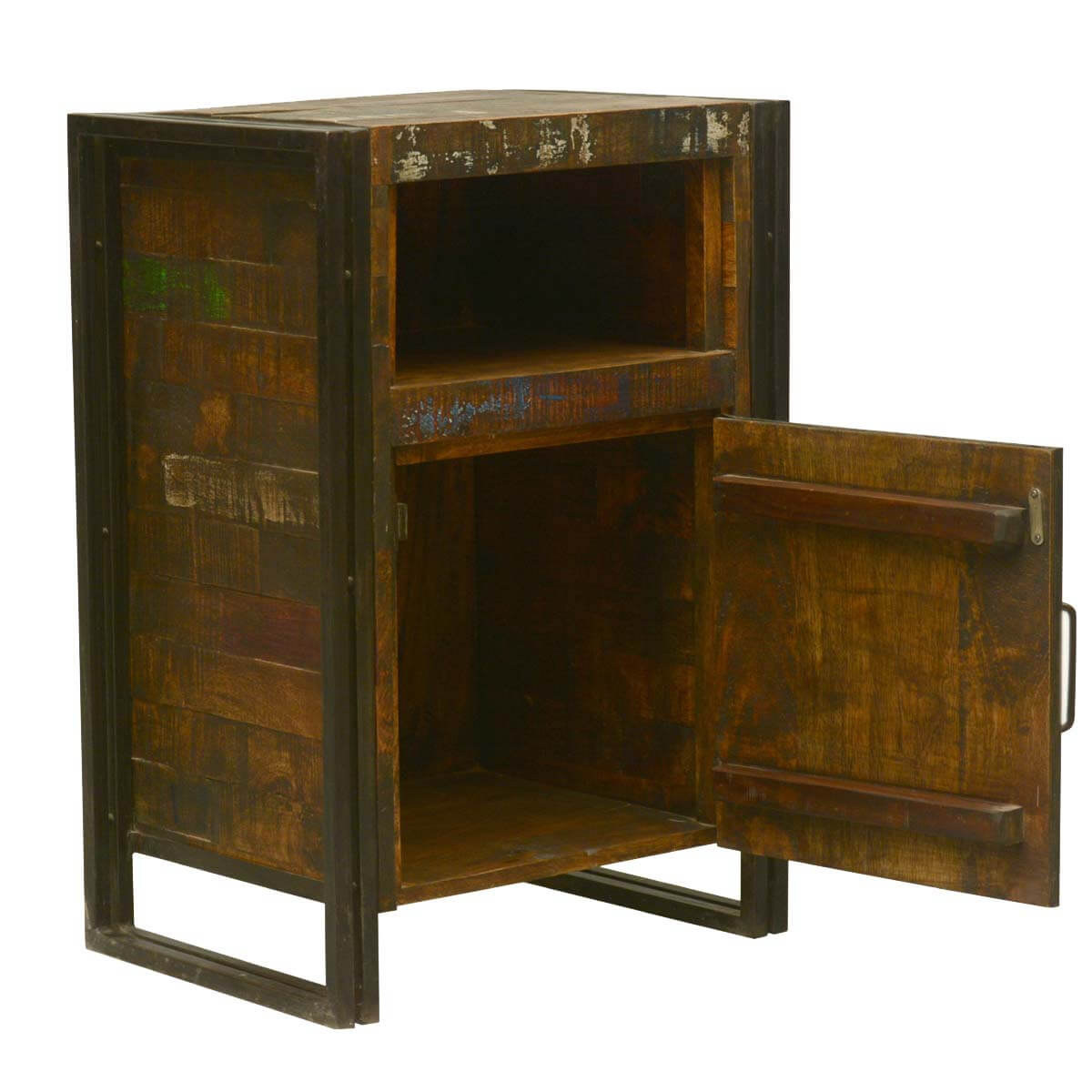 iron nightstand industrial fusion reclaimed wood amp iron nightstand cabinet 907