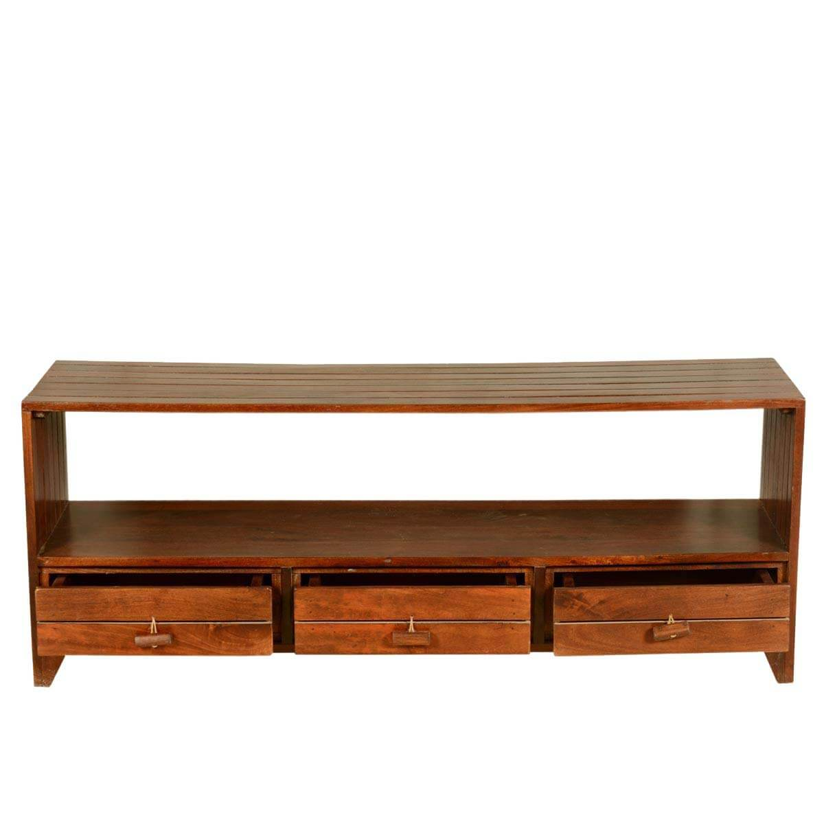 Scantic parallel lines solid teak wood drawer tv stand
