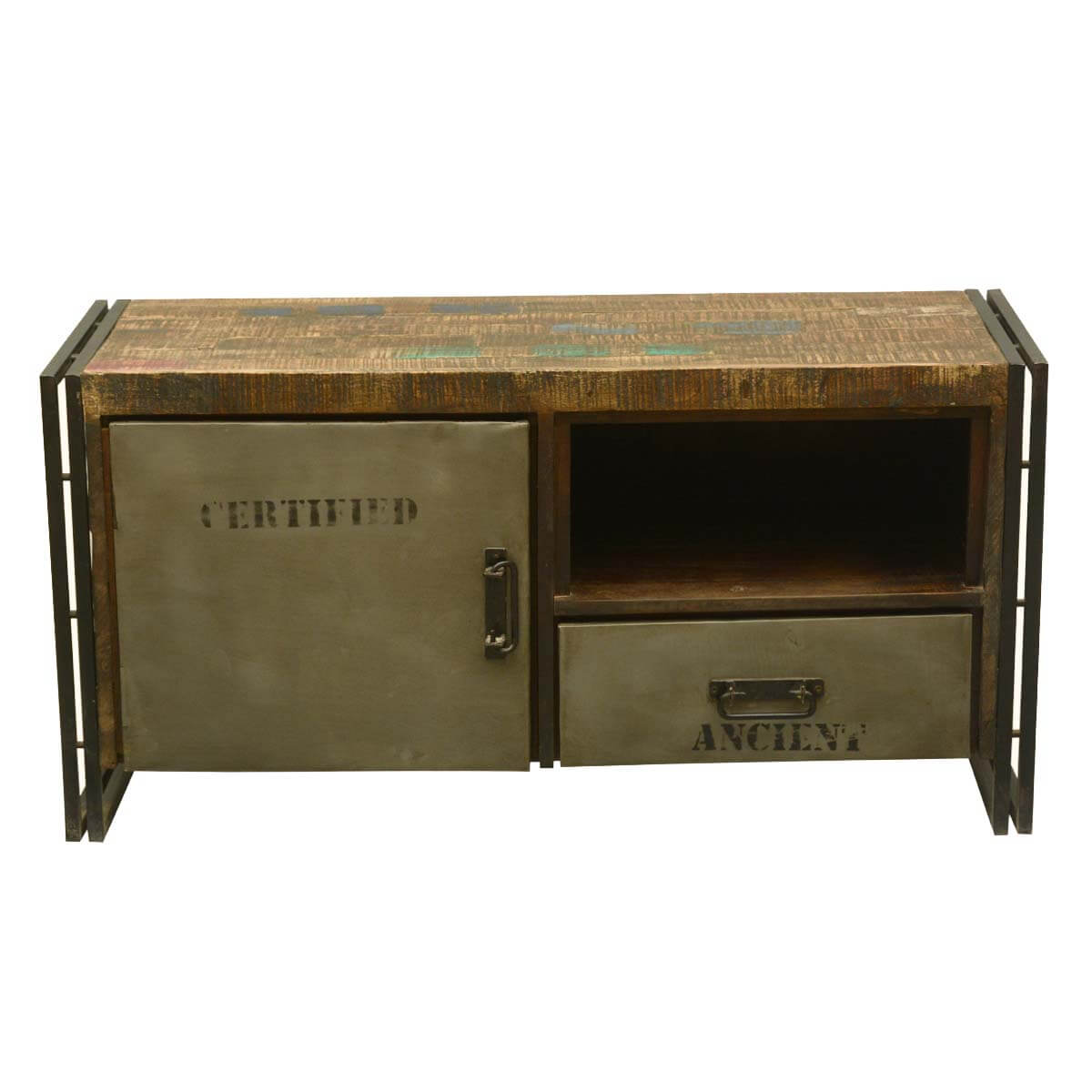 industrial media furniture small saltaire rustic reclaimed wood industrial media console cabinet
