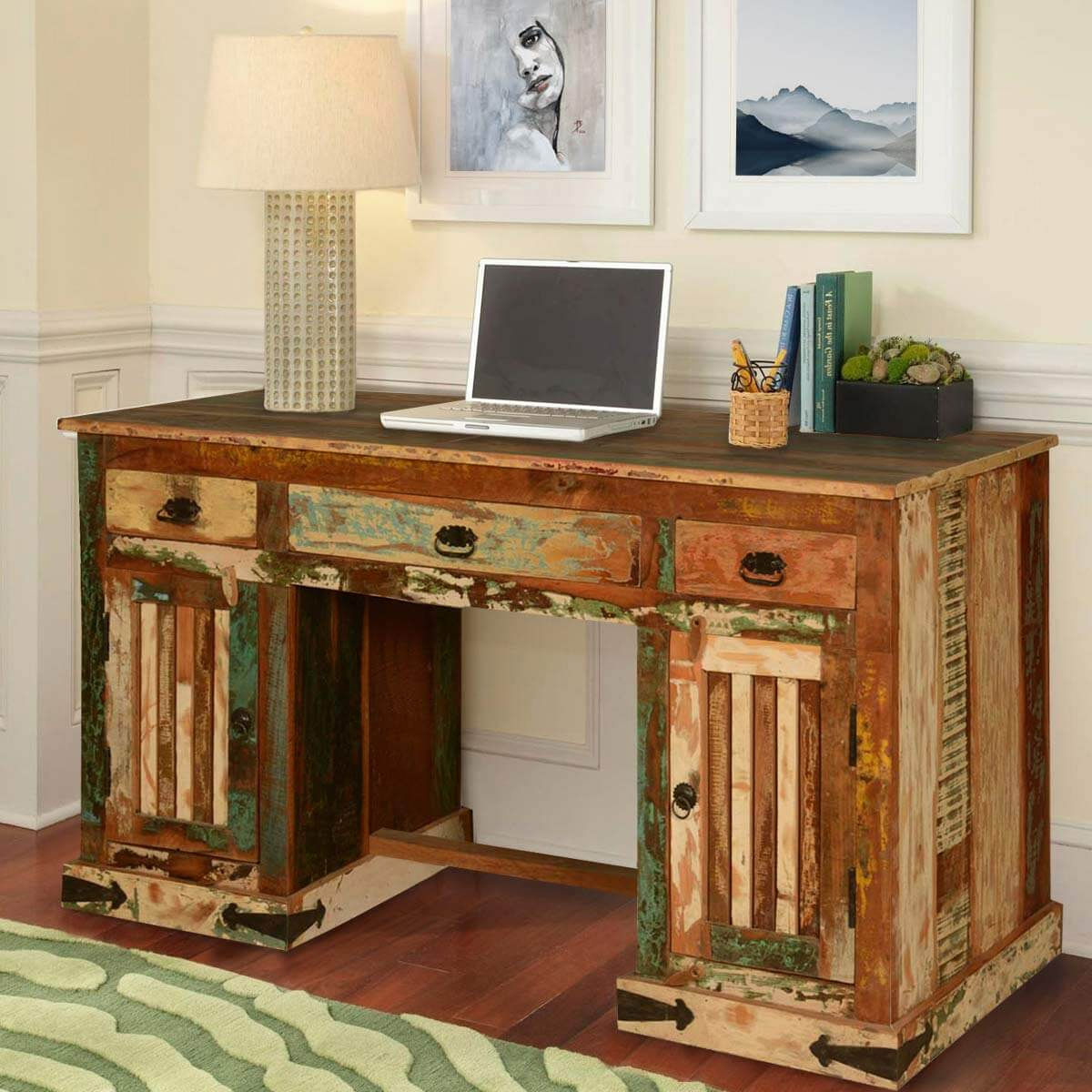 reclaimed wood office. Gothic Rustic Double Pedestal Reclaimed Wood Office Desk