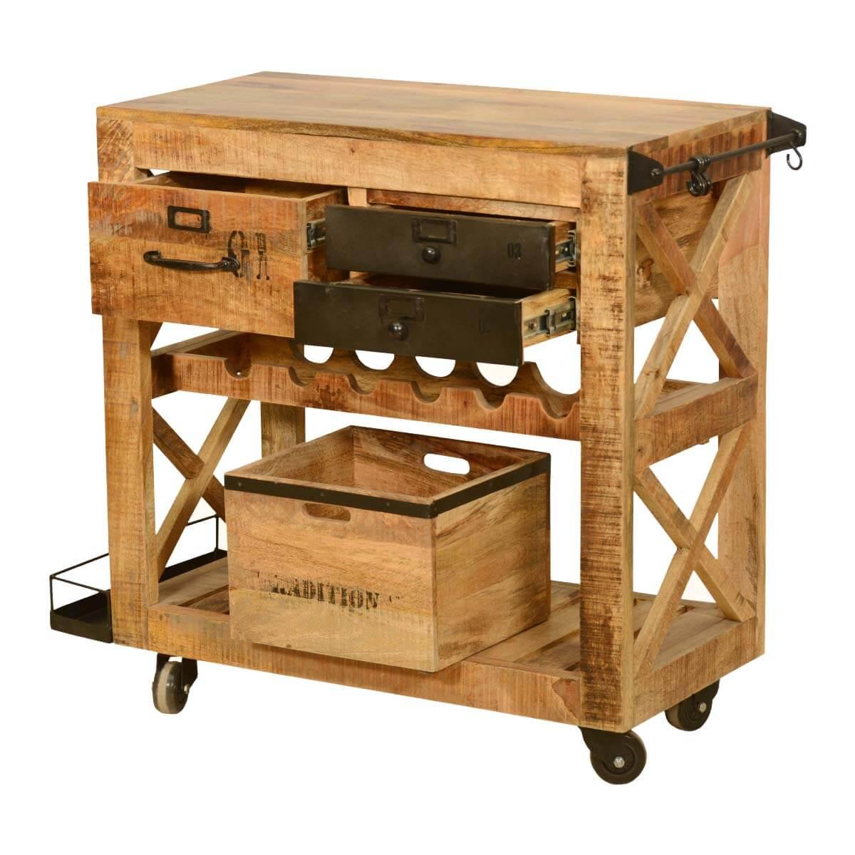 Brunswick rustic rolling solid wood wine rack serving cart
