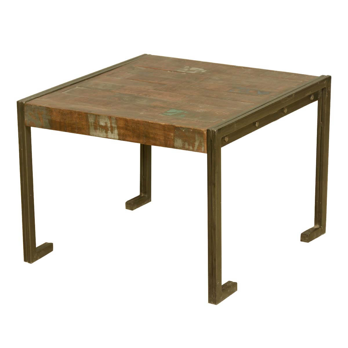 Industrial style old reclaimed wood metal frame rustic end for Rustic wood accent tables