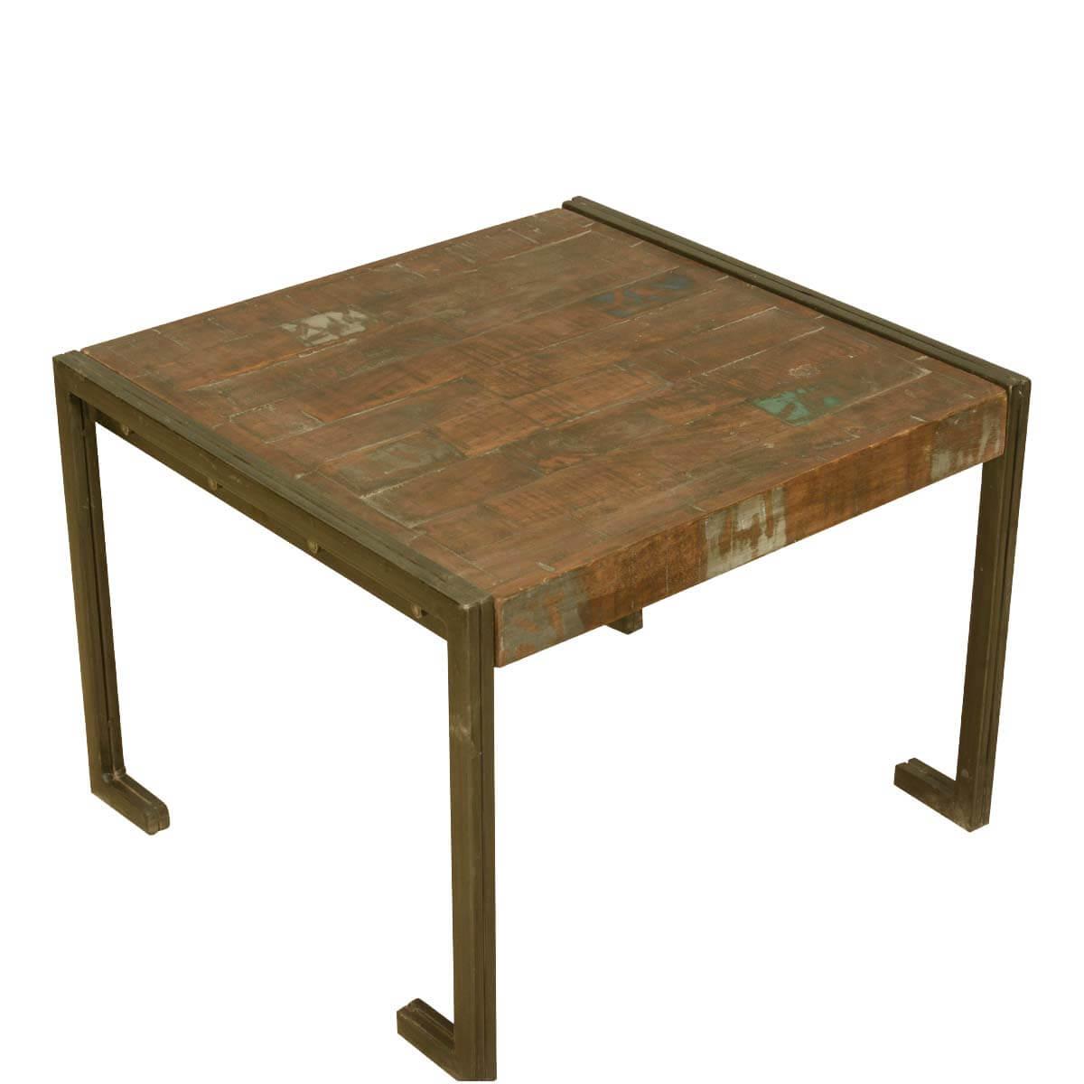 drakensberg old reclaimed wood metal frame industrial rustic end table. Black Bedroom Furniture Sets. Home Design Ideas