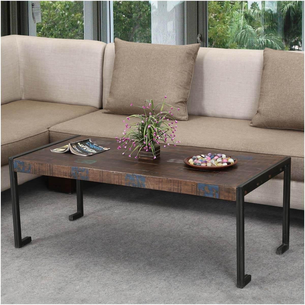 Philadelphia Reclaimed Wood Industrial Metal Frame Rustic Coffee Table - Reclaimed Wood Industrial Metal Frame Rustic Coffee Table
