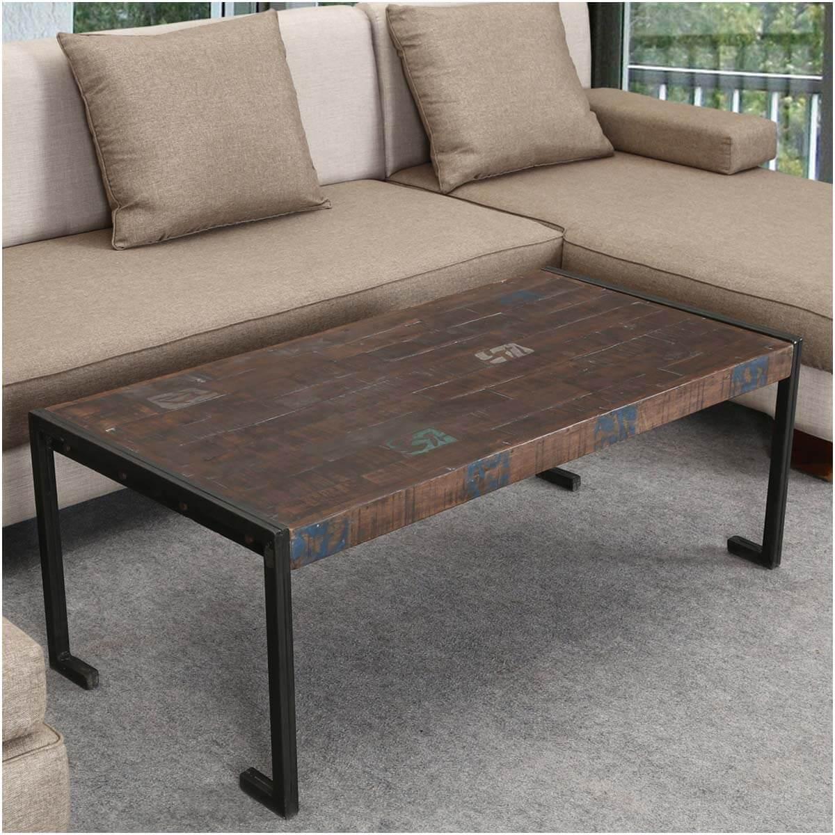 Reclaimed Wood Industrial Metal Frame Rustic Coffee Table
