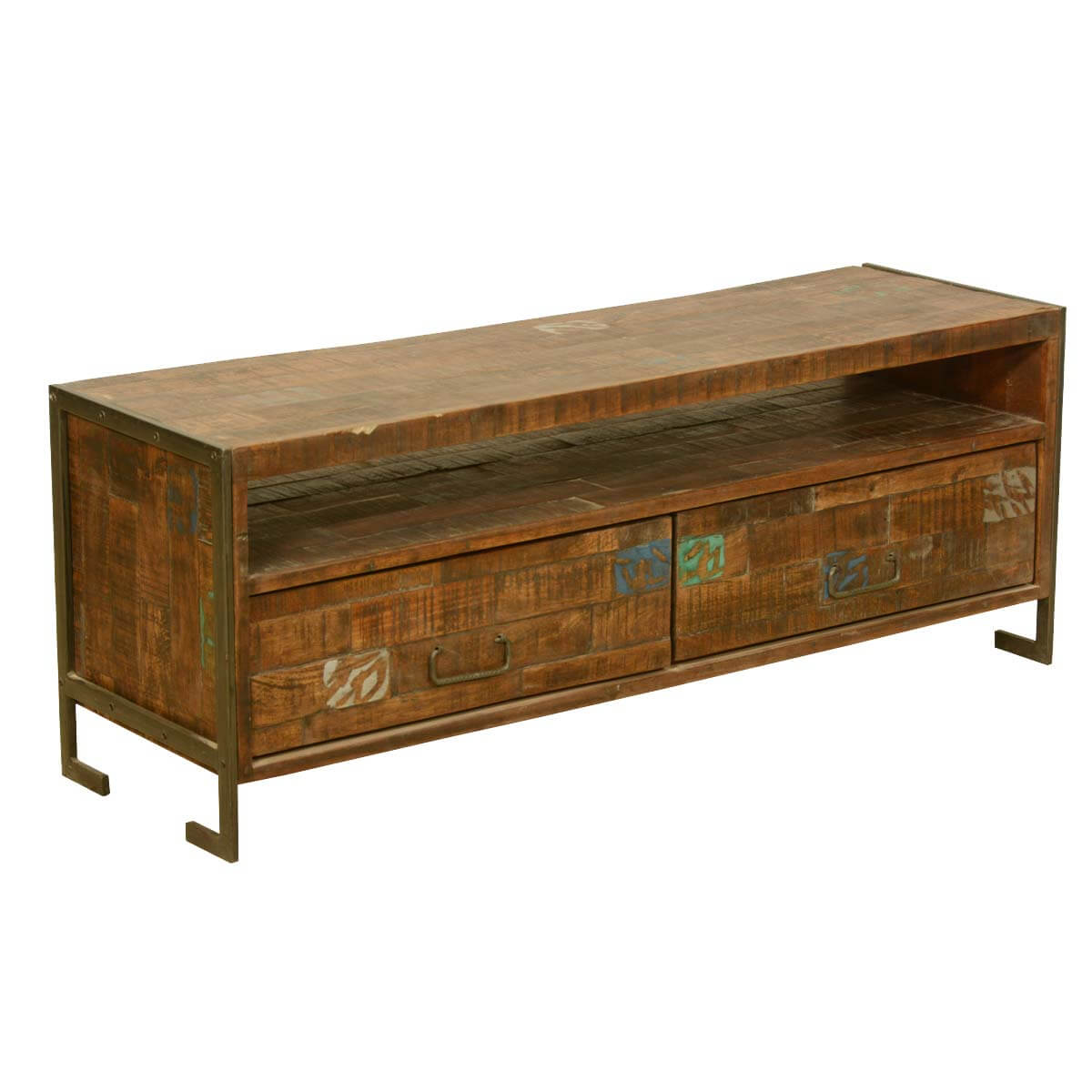 "52"" Reclaimed Wood Industrial Rustic Media Console TV Stand"