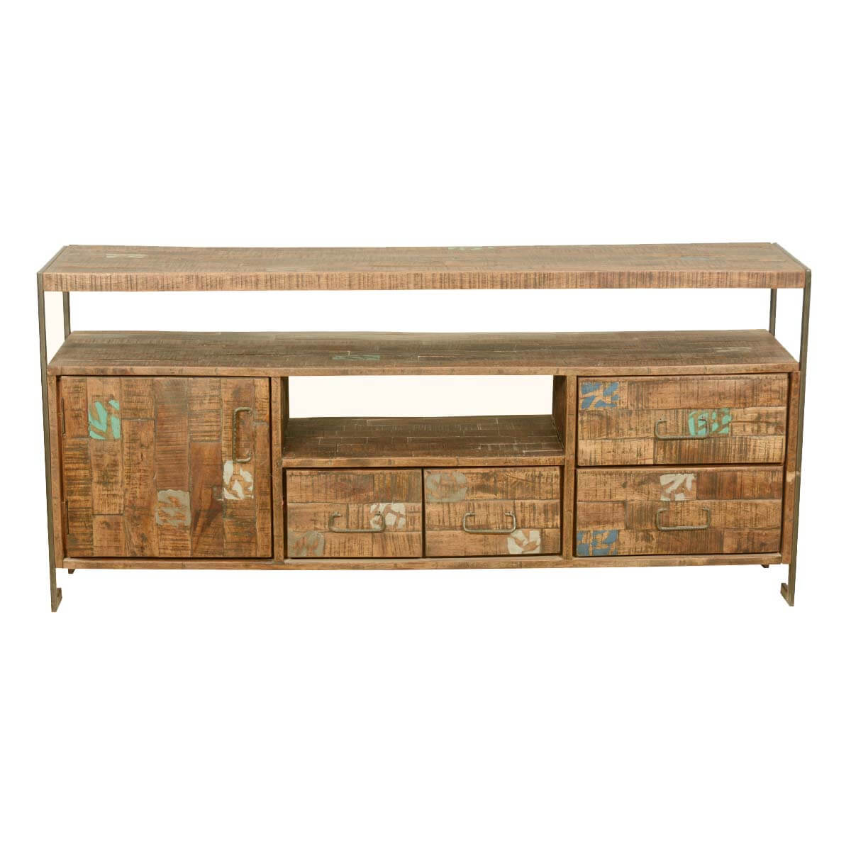 Industrial Reclaimed Wood  Iron Rustic Media Console TV Stand