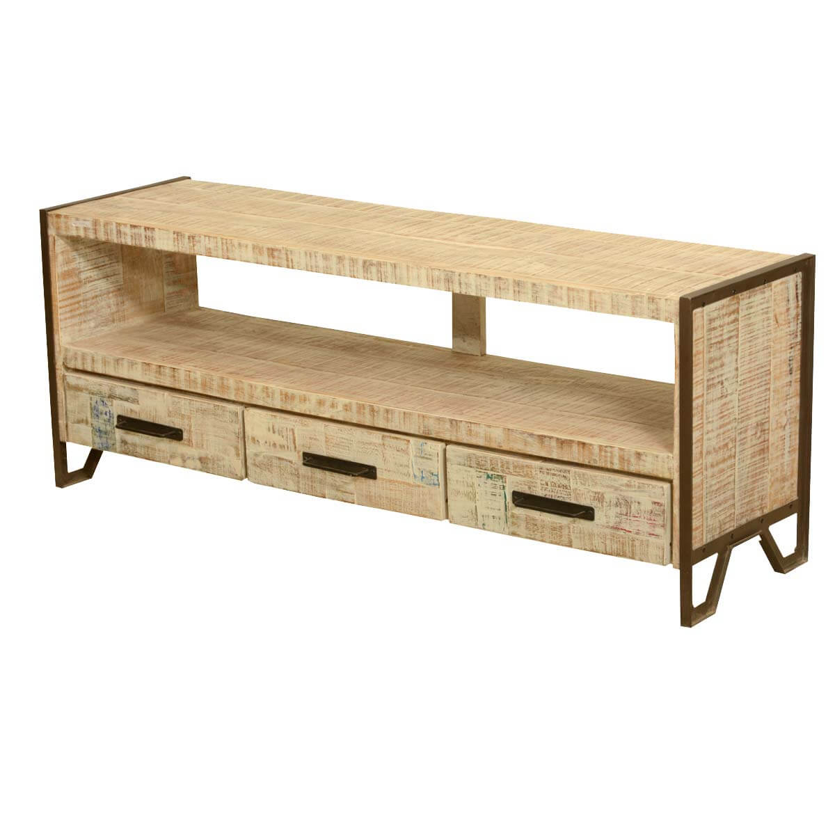 Industrial Fusion Iron Reclaimed Wood Rustic Media Console