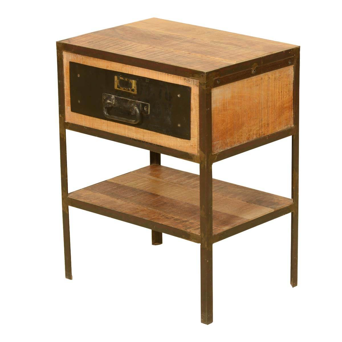 Rustic Industrial Fusion Solid Wood U0026 Iron 2 Tier End Table