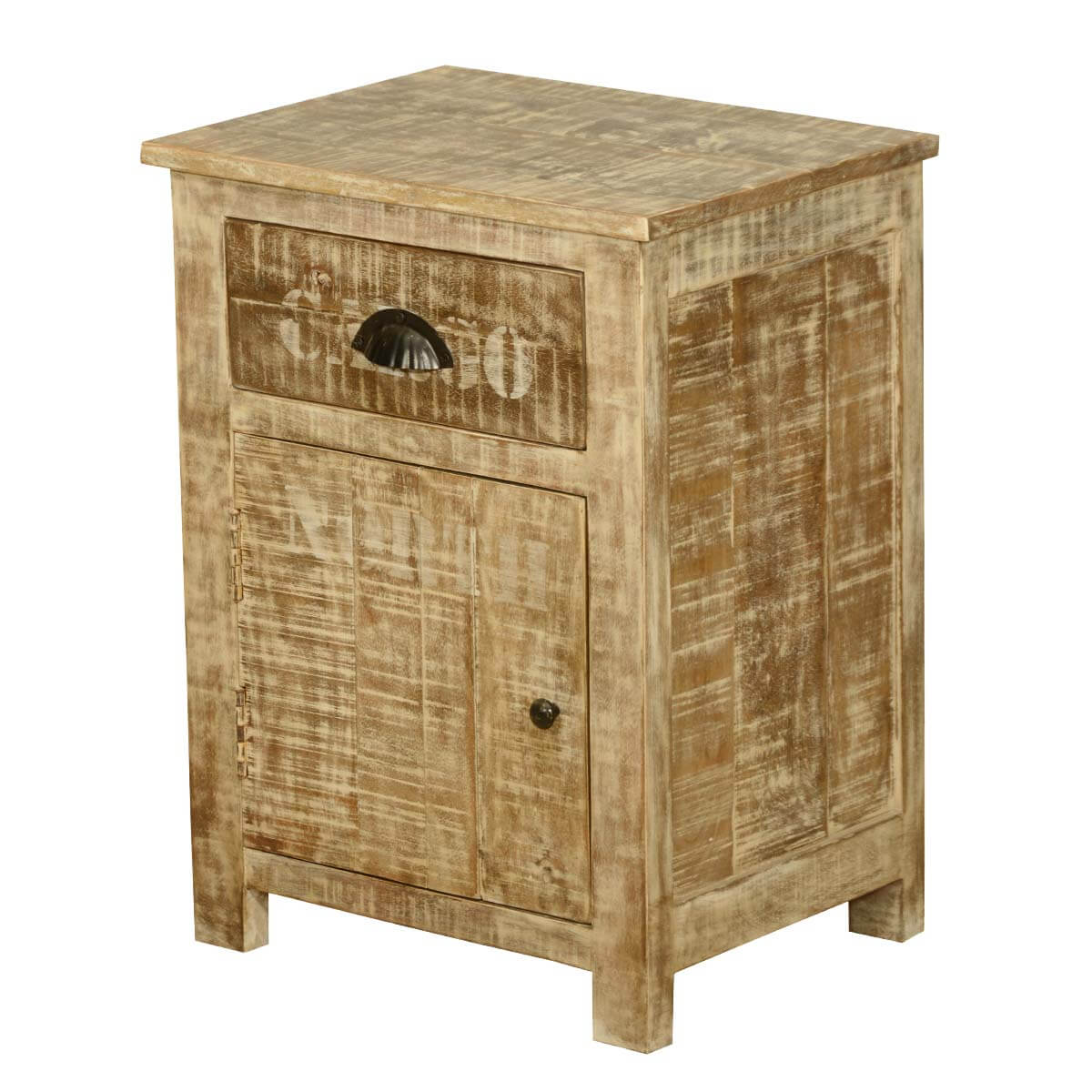 Amish rustic solid wood 1 drawer bedside nightstand cabinet for Rustic wood nightstand