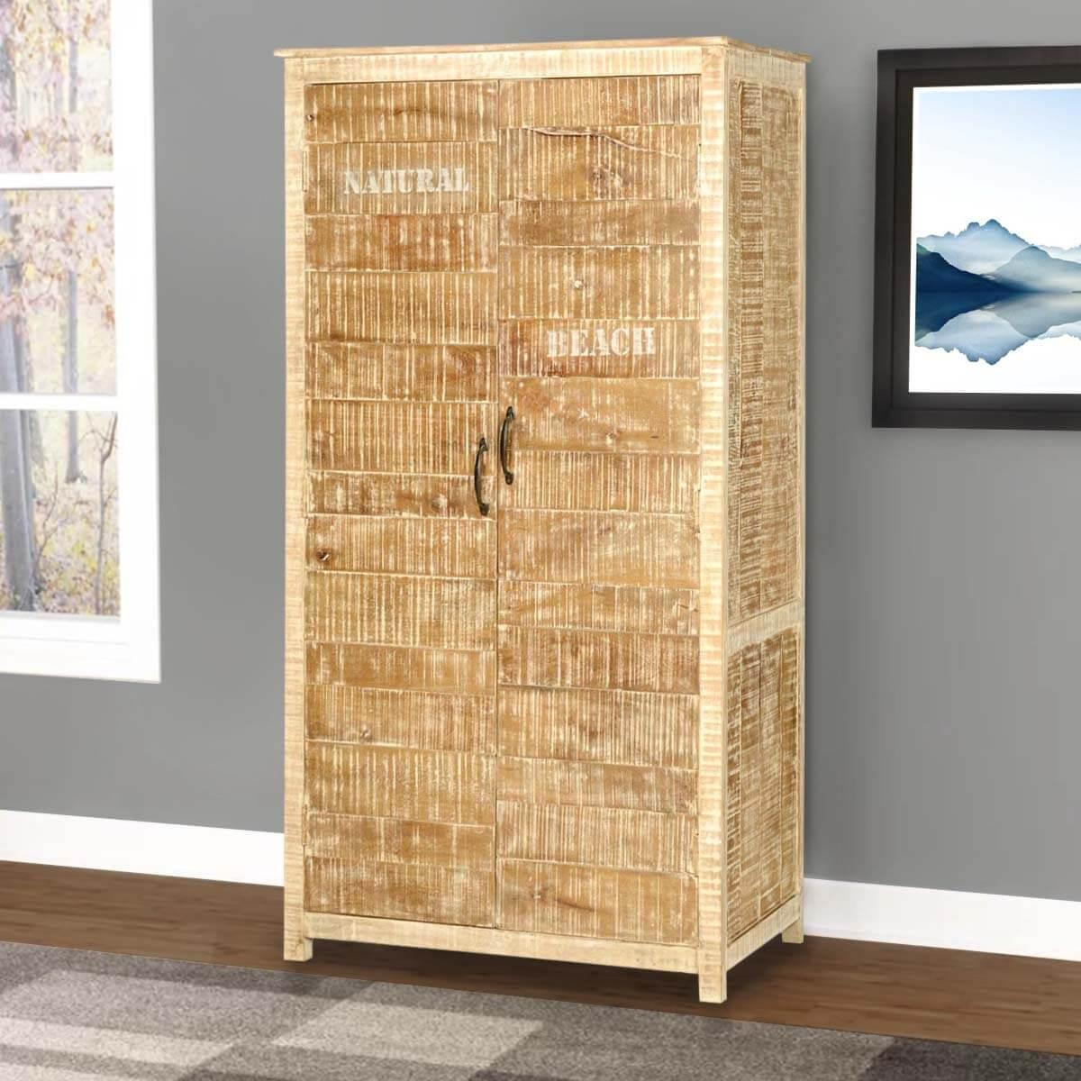 New orleans rustic solid wood bedroom armoire wardrobe