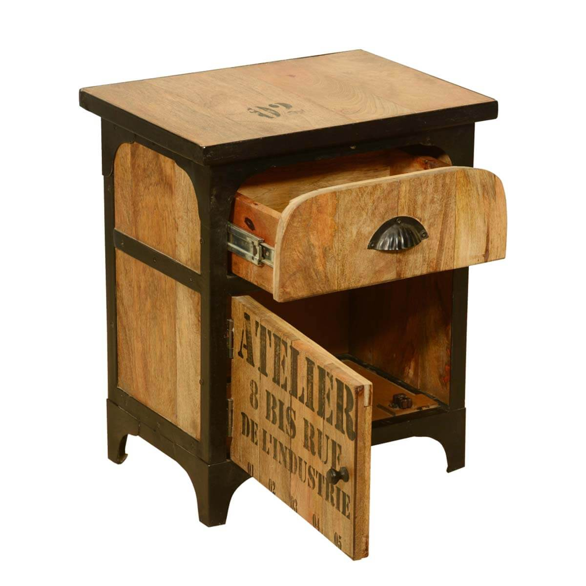 Industrial Shipping Crate Mango Wood U0026 Iron Nightstand End Table