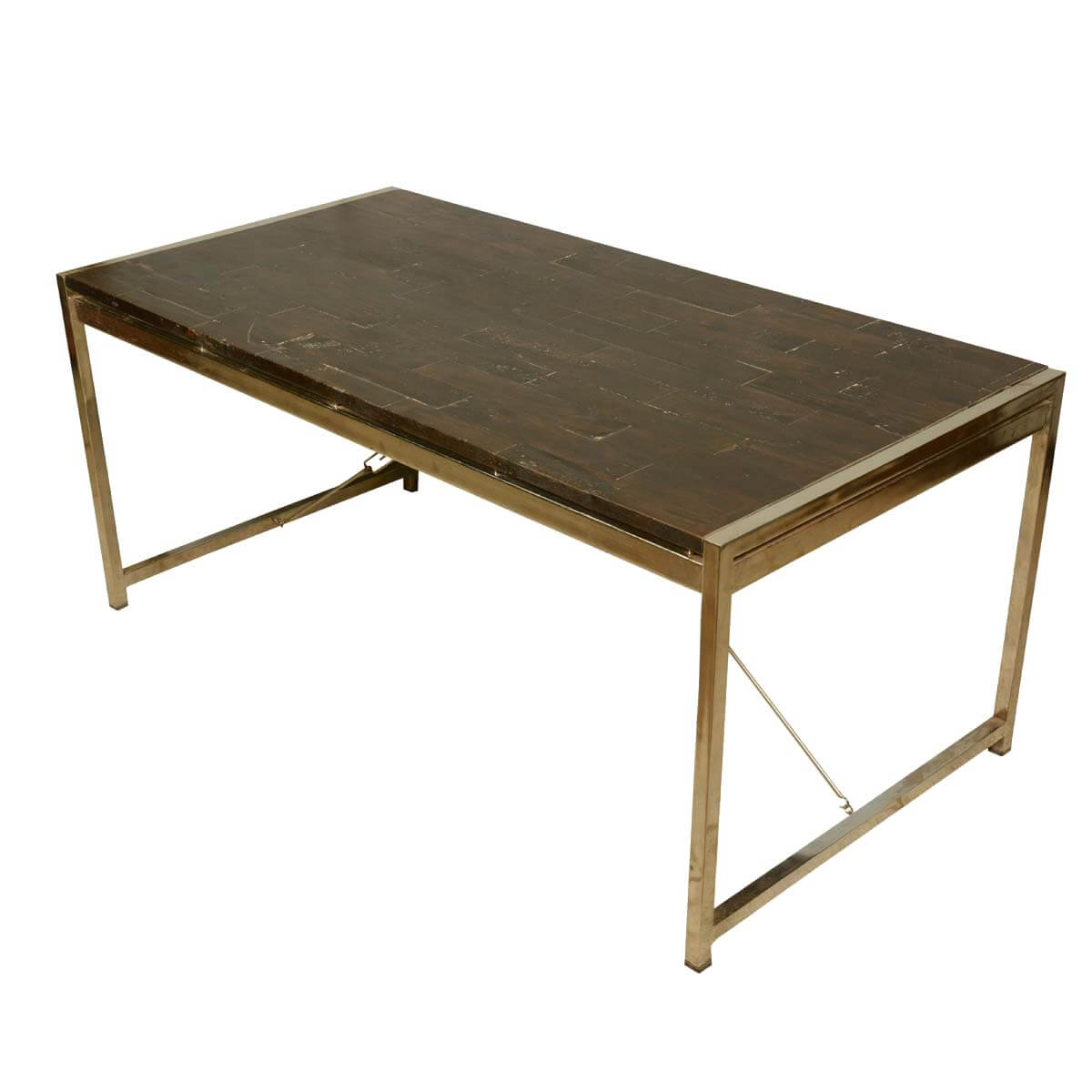 Modern industrial mango wood iron rectangular rustic for Contemporary rectangular dining table