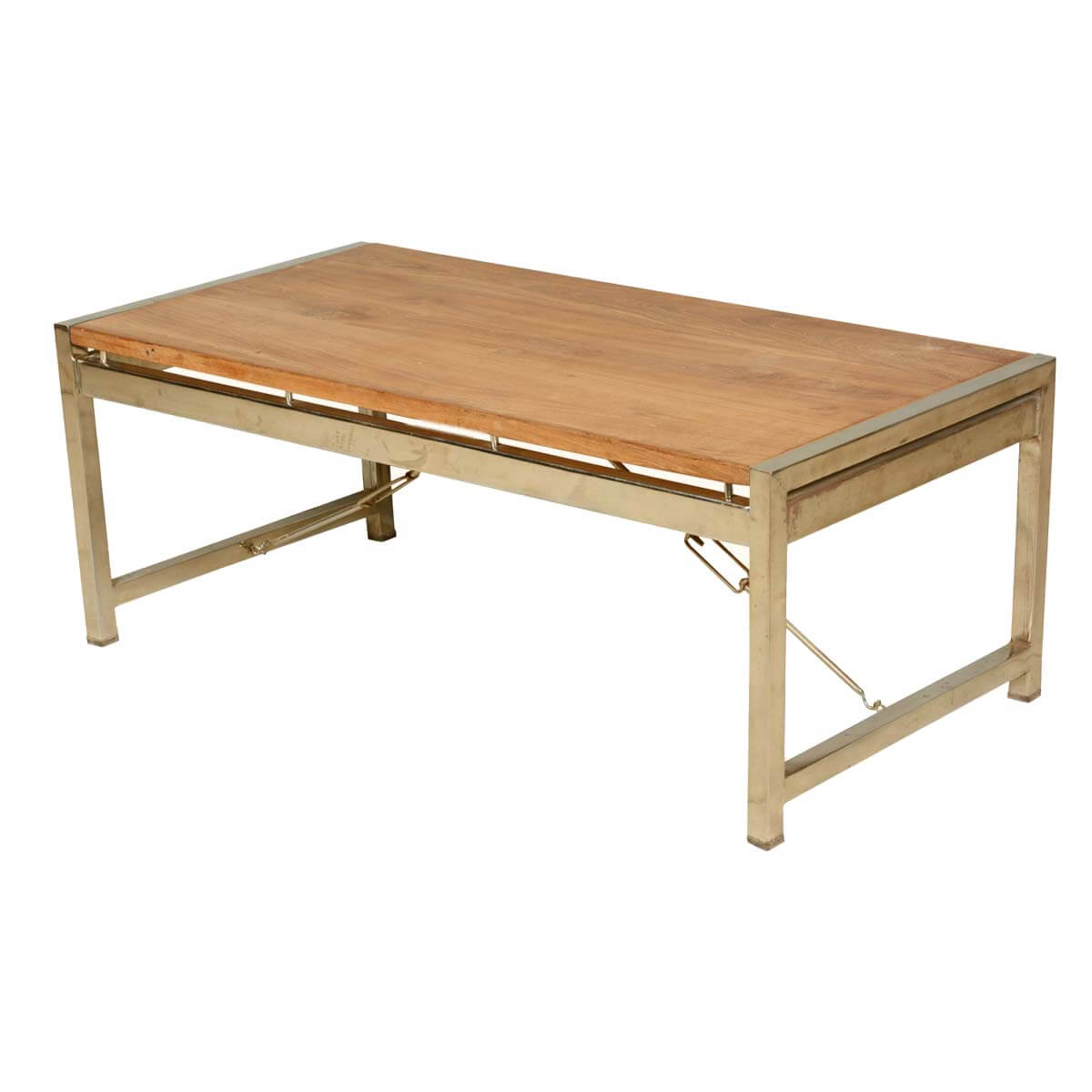 Modern industrial fusion solid wood iron rustic coffee table for Solid wood coffee table
