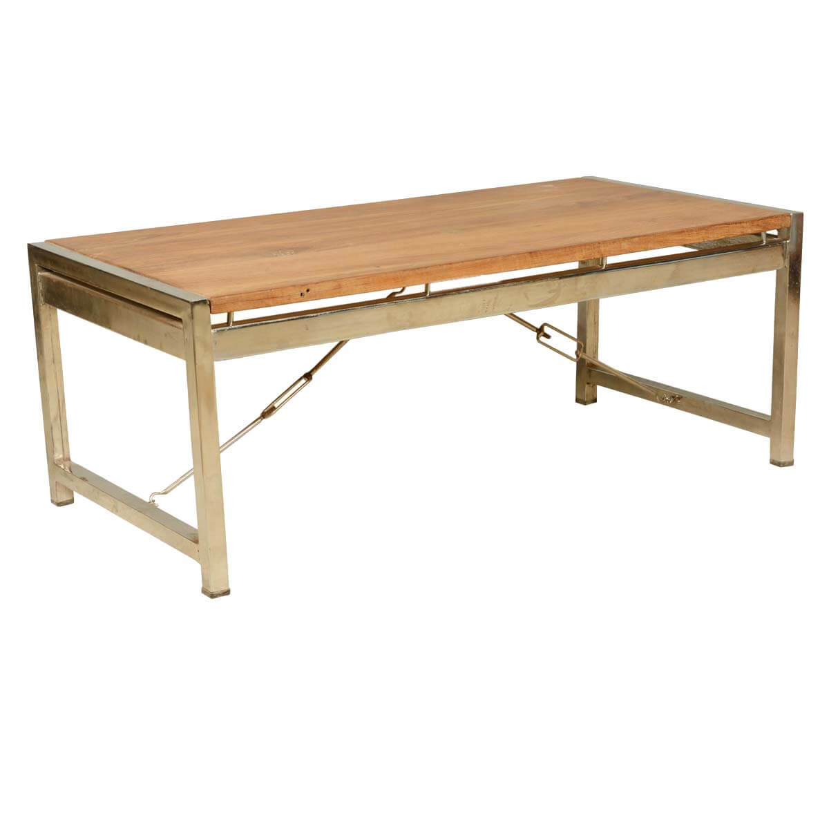 Modern Industrial Fusion Solid Wood & Iron Rustic Coffee Table