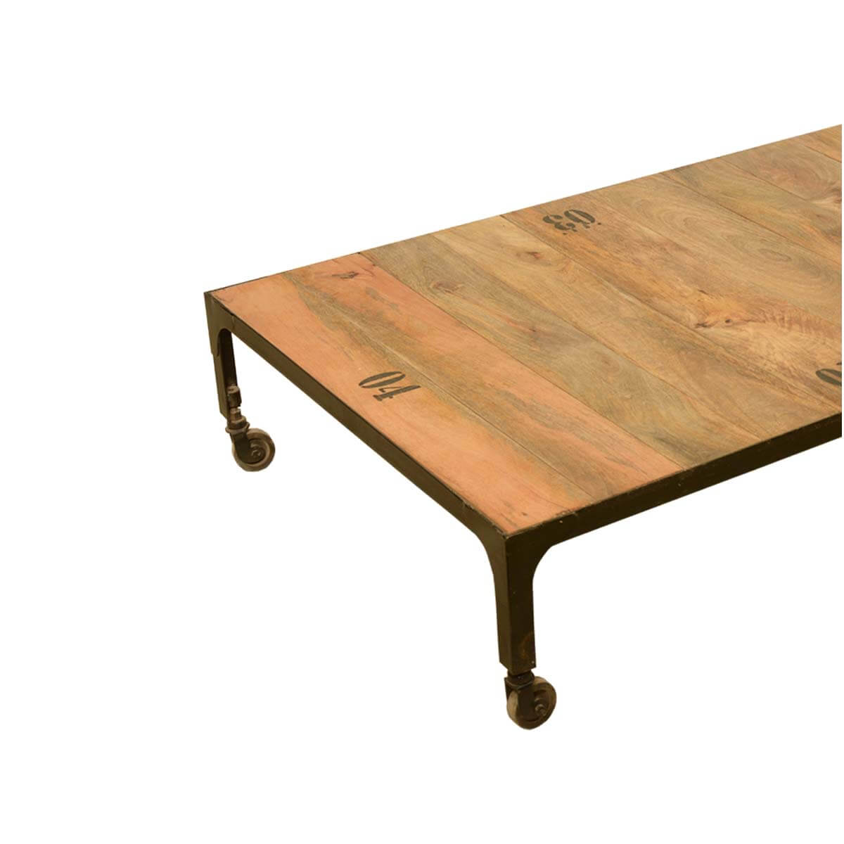Industrial Fusion Solid Wood & Iron Rustic Rolling Cart