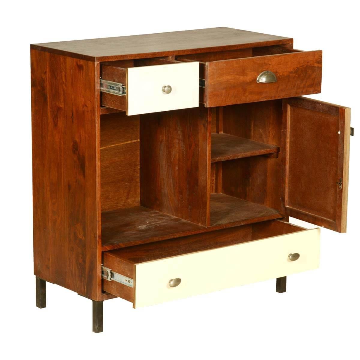 Retro Mango Wood Open Display Cabinet Mini Cabinet