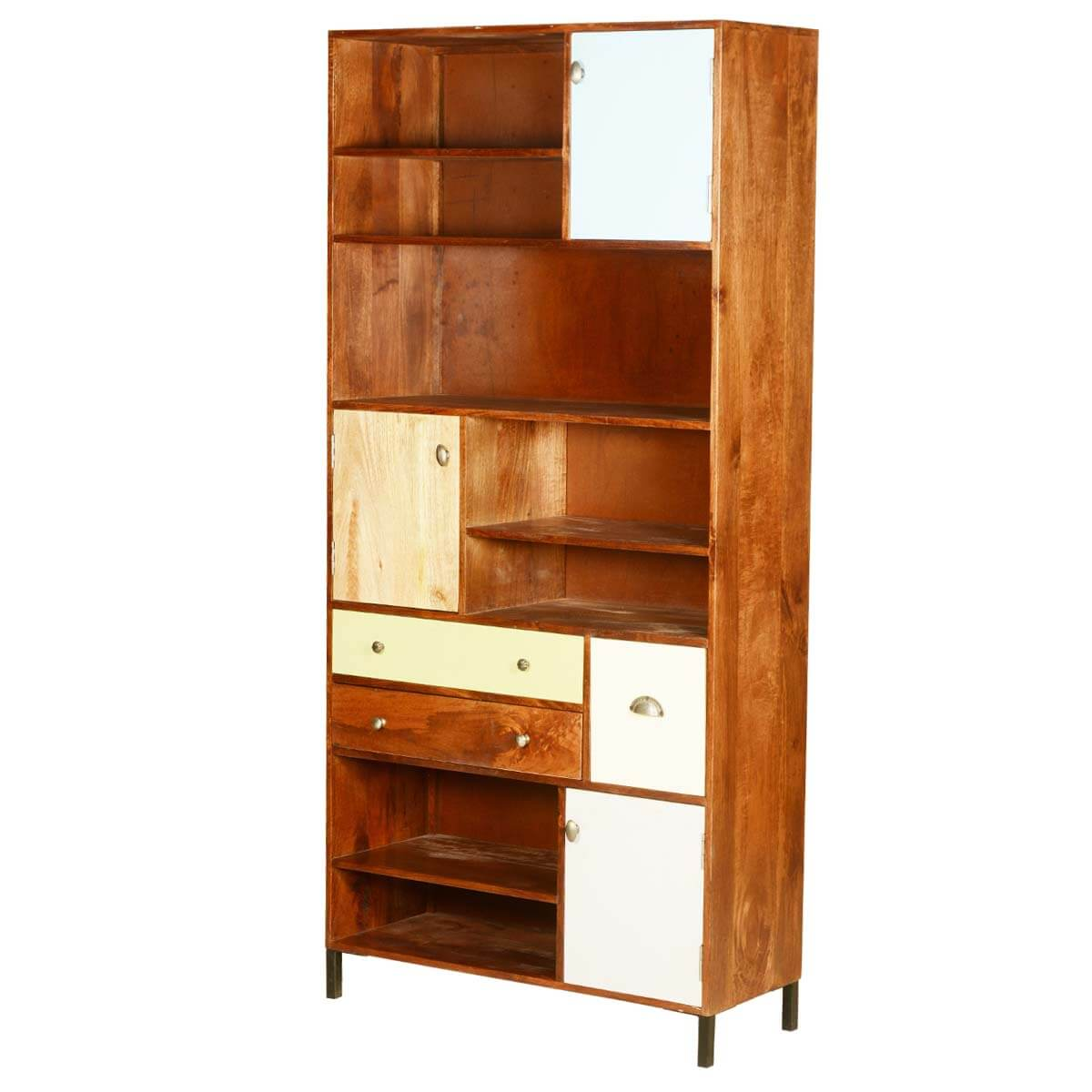 "60's Retro Mango Wood 76"" Open Display 13 Compartment Cabinet"