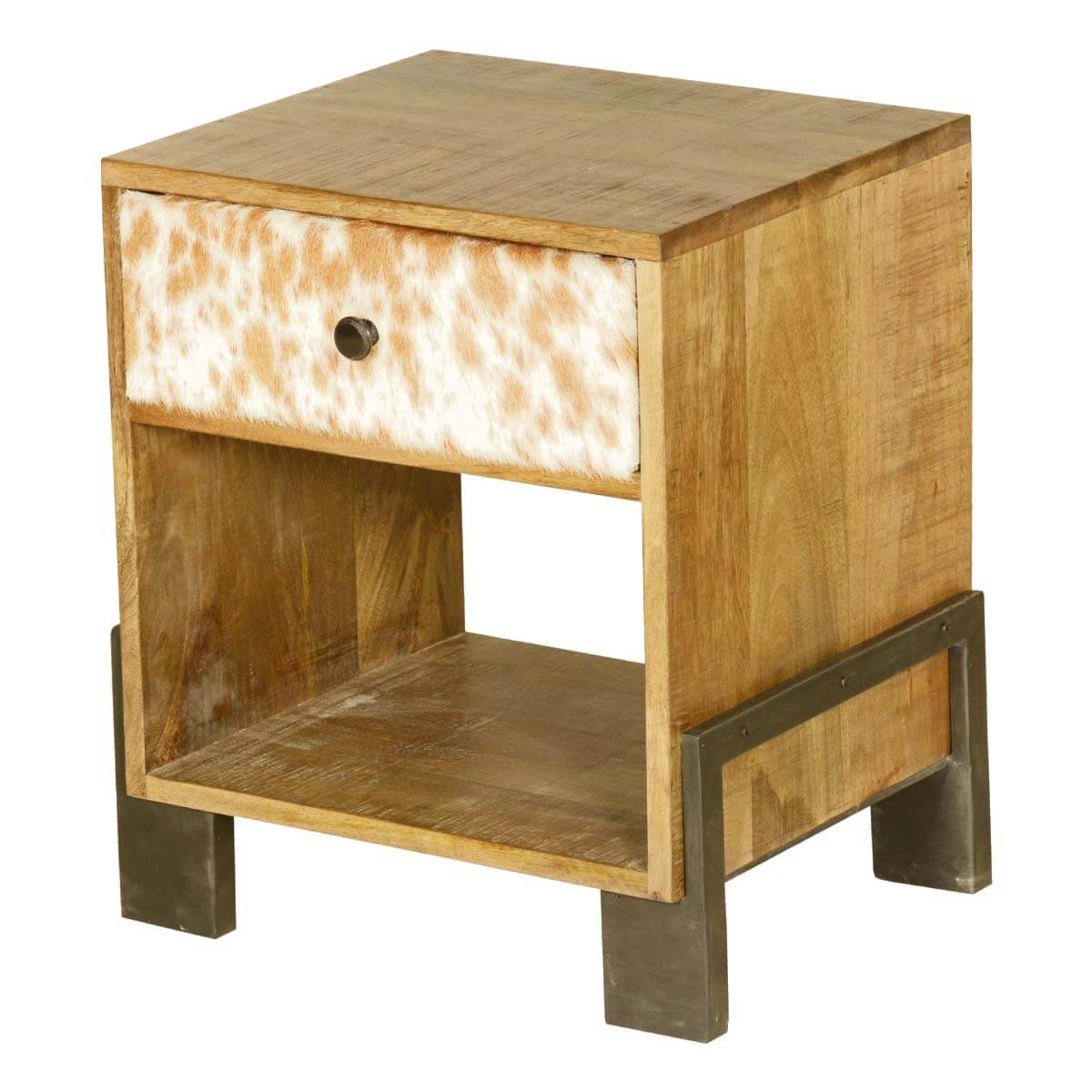 60's Retro Mango Wood & Iron Open Back Night Stand End Table