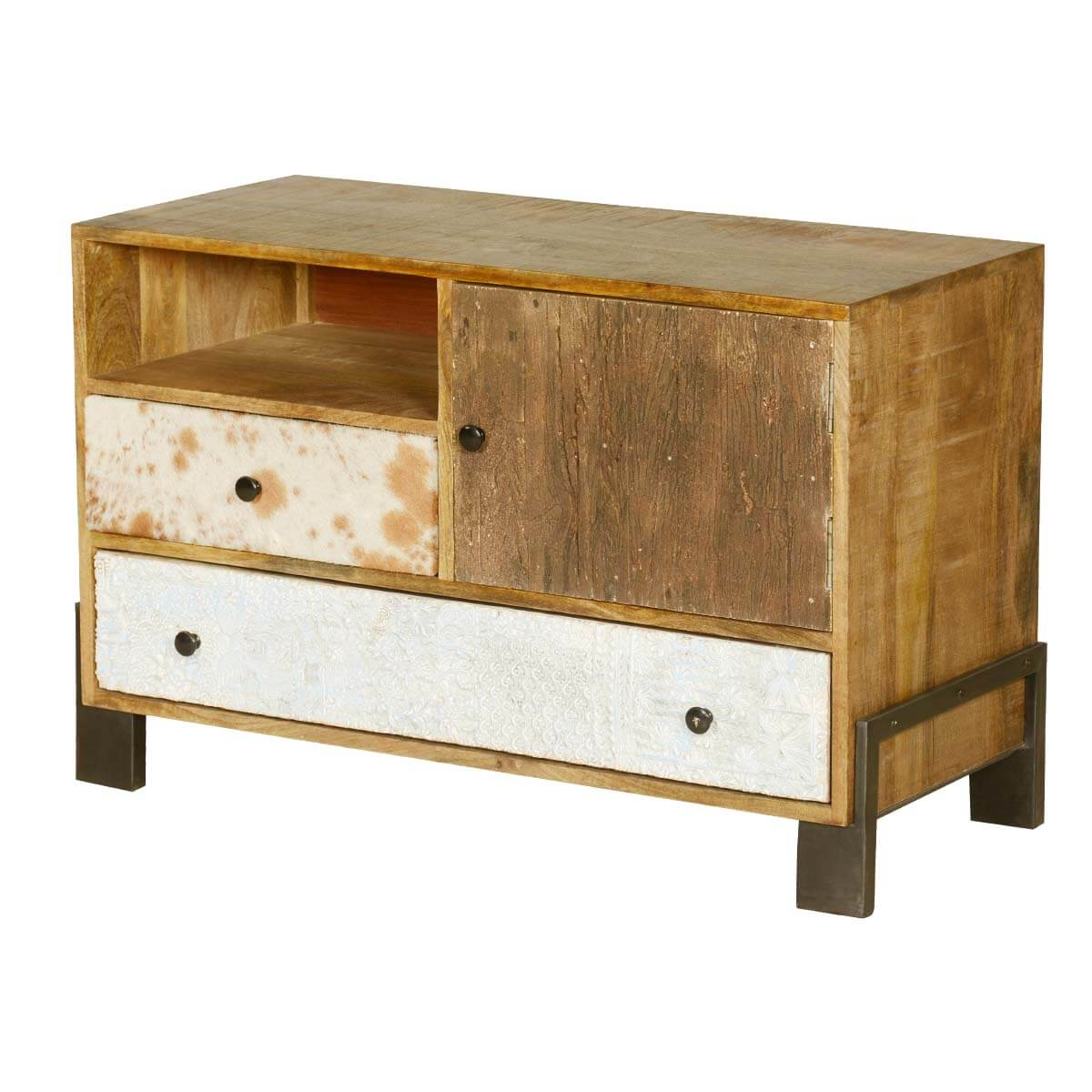 60's Retro Mango Wood & Iron 4 Compartment Chest w Drawers