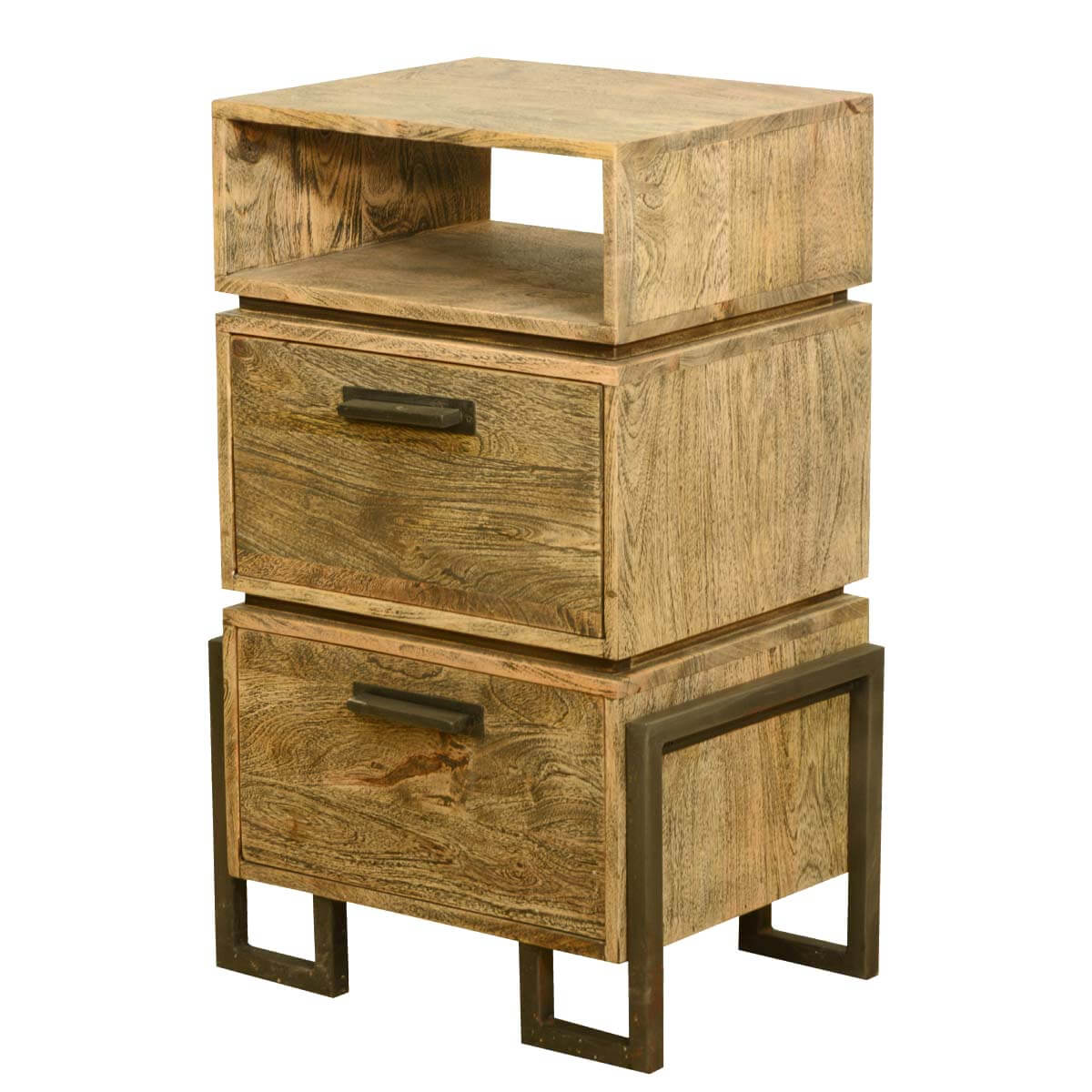 modern rustic industrial style solid wood iron bedside