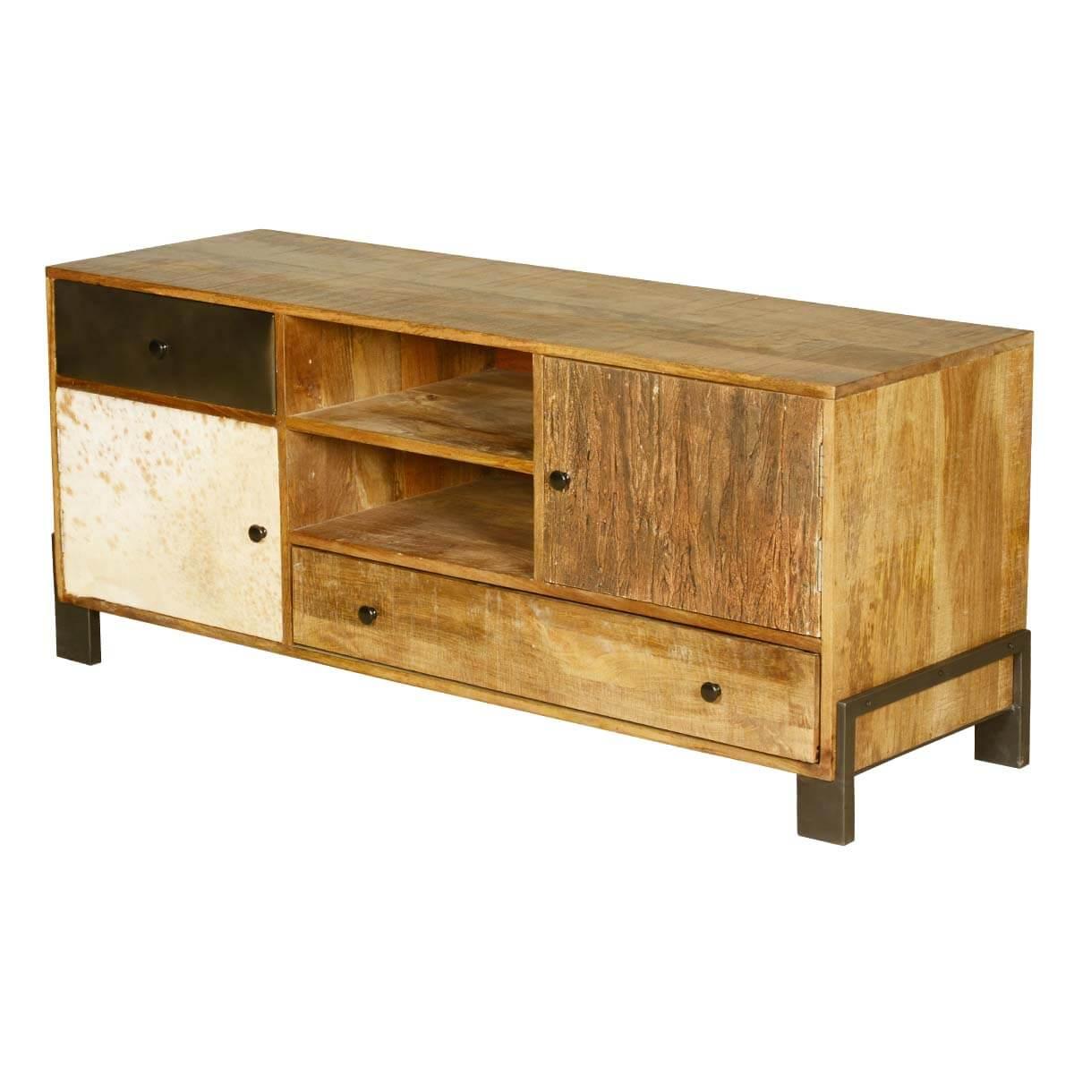 60u0027s retro mango wood u0026 iron 6 compartment tv rustic media console