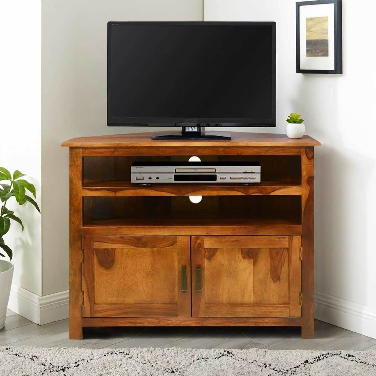 Farmhouse Solid Wood Corner TV Media Stand