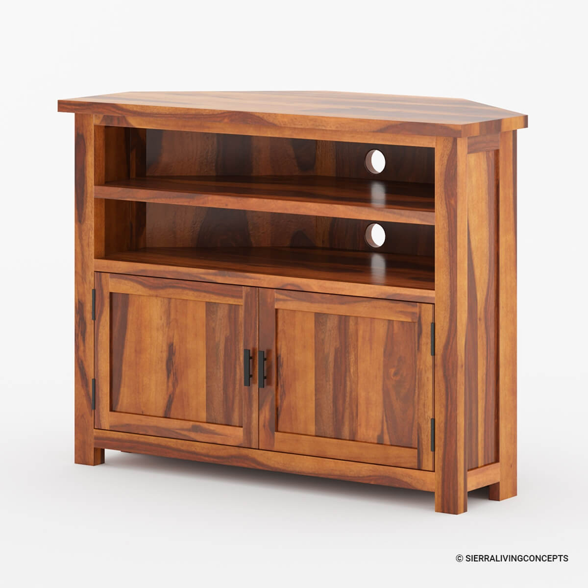 Wood Tv Stands Product ~ Farmhouse solid wood corner tv media stand